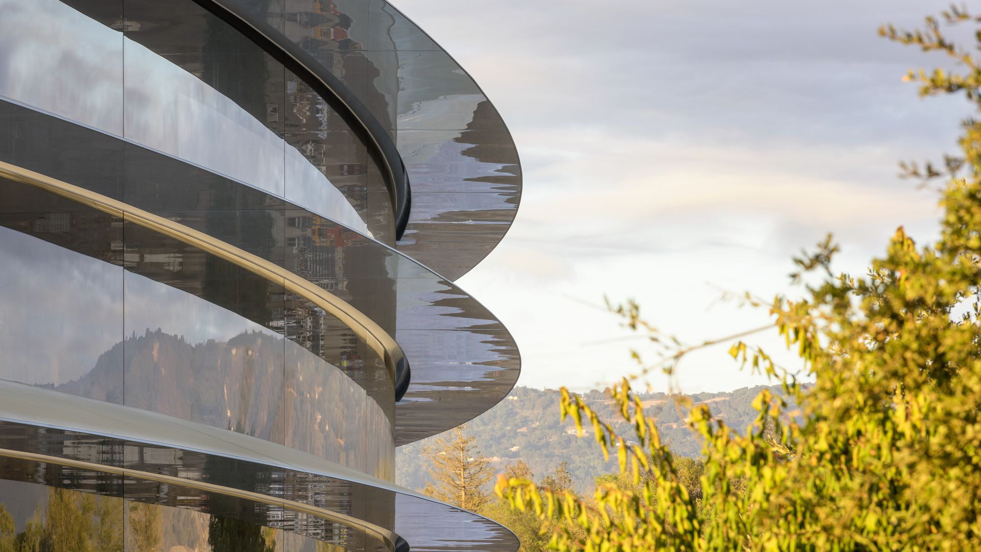 Side outside view of Apple's new headquarters with trees in background