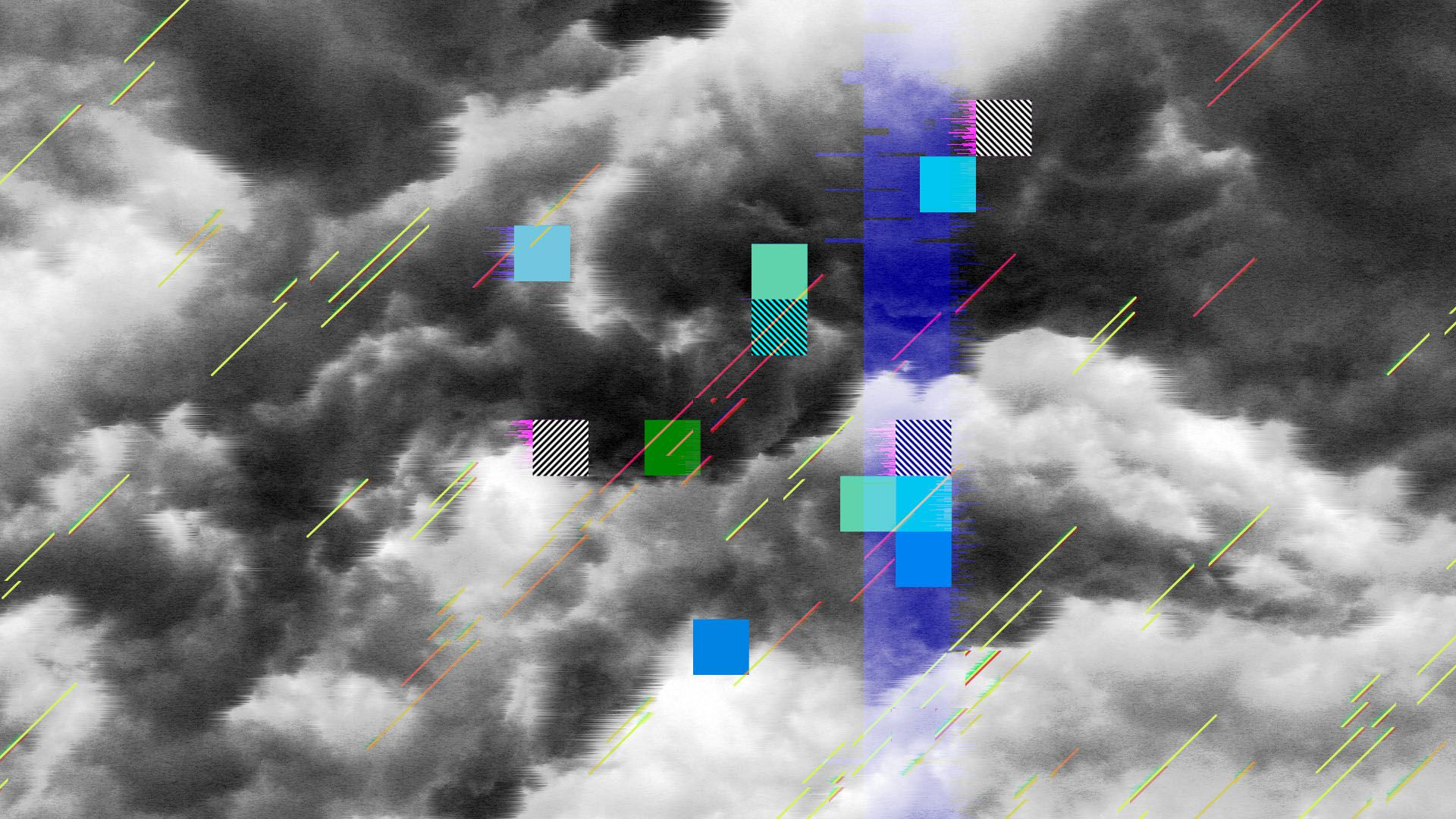 Illustration of a storm cloud interrupted by cubes and glitches