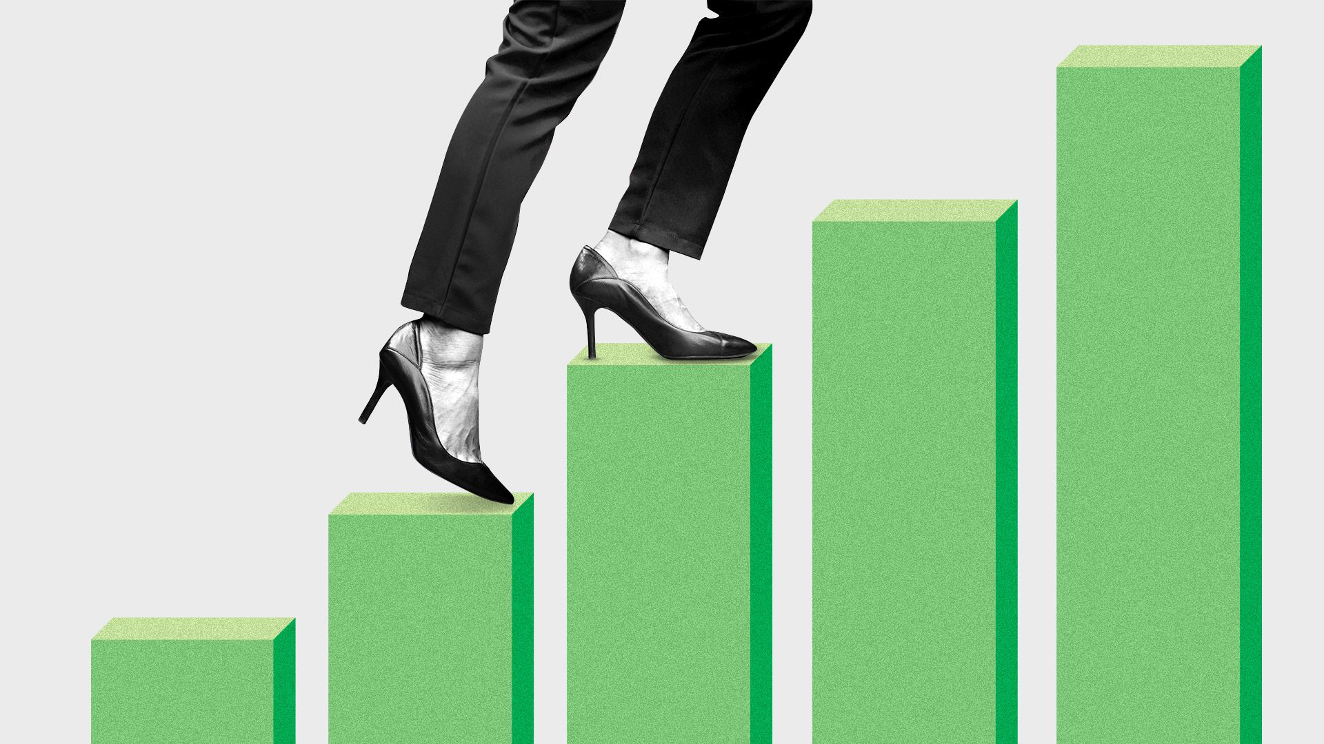 Illustration of a pair of heels walking up a market bar chart that resembles stairs.