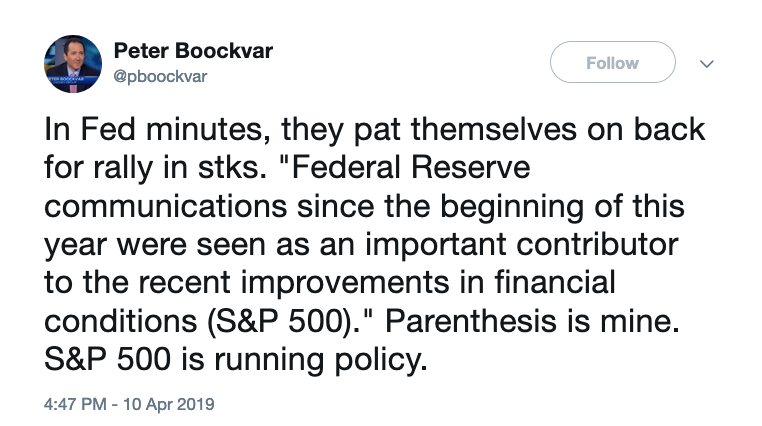 A tweet from Peter Boockvar, Chief Investment Officer of Bleakley Advisory Group, showing the Fed mentioned the performance of the S&P 500 in its minutes.