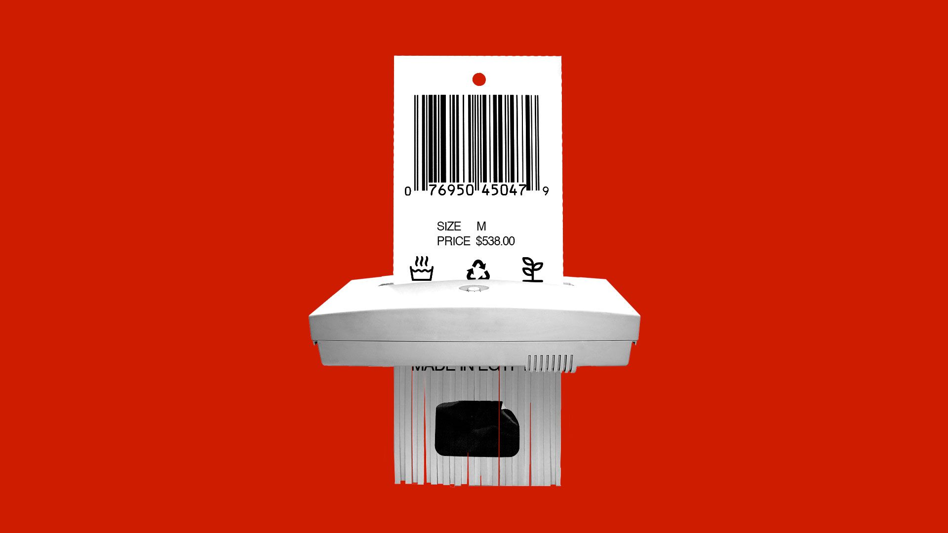Illustration of a price tag being shredded
