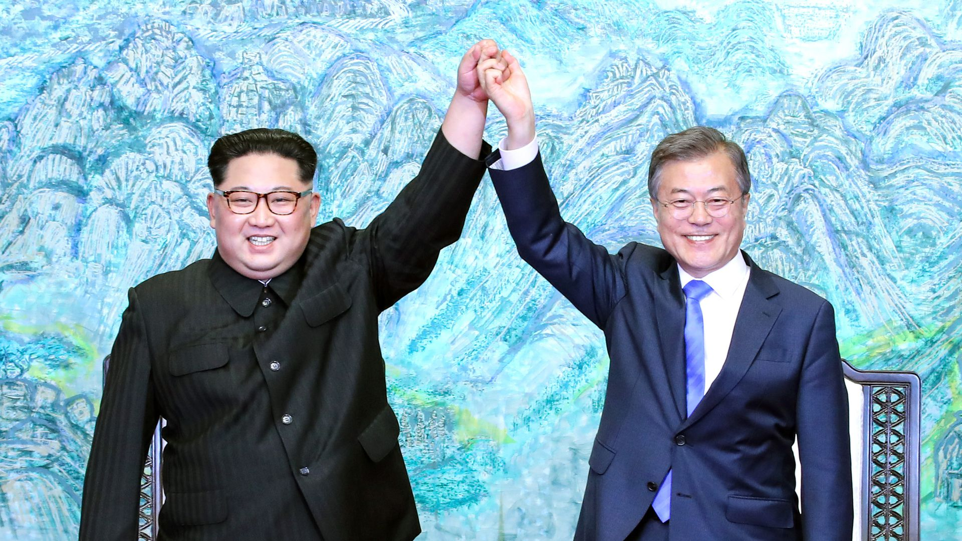 Kim Jong-un and Moon Jae-in at a summit in South Korea.