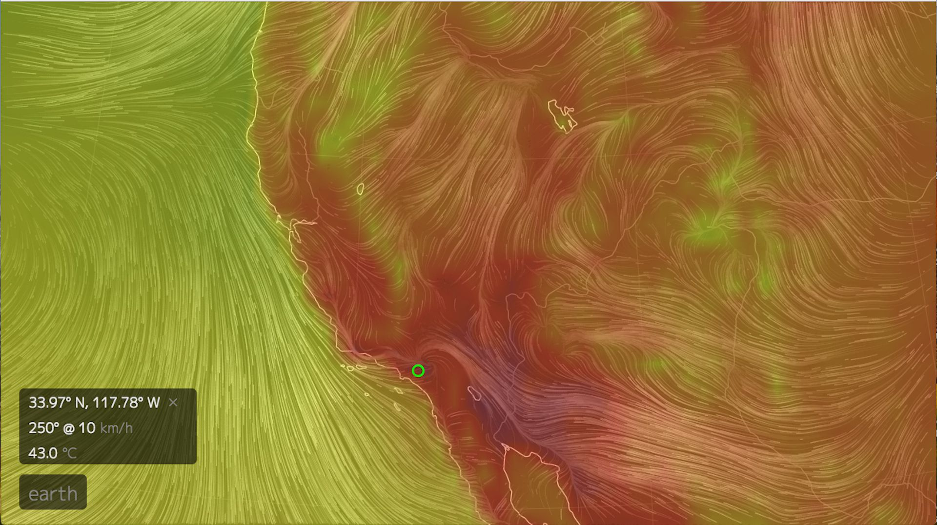 Computer model simulation showing California's heat wave in full swing on July 6, 2018.
