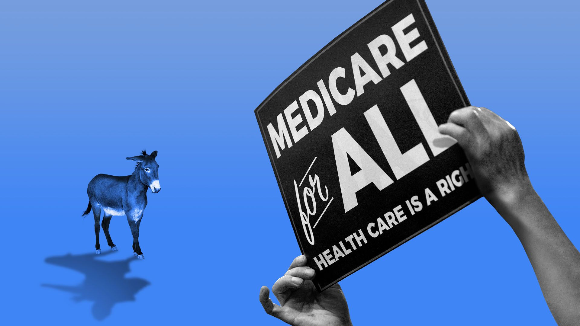 Illustration of a small donkey faced with a giant Medicare-for-all protestor