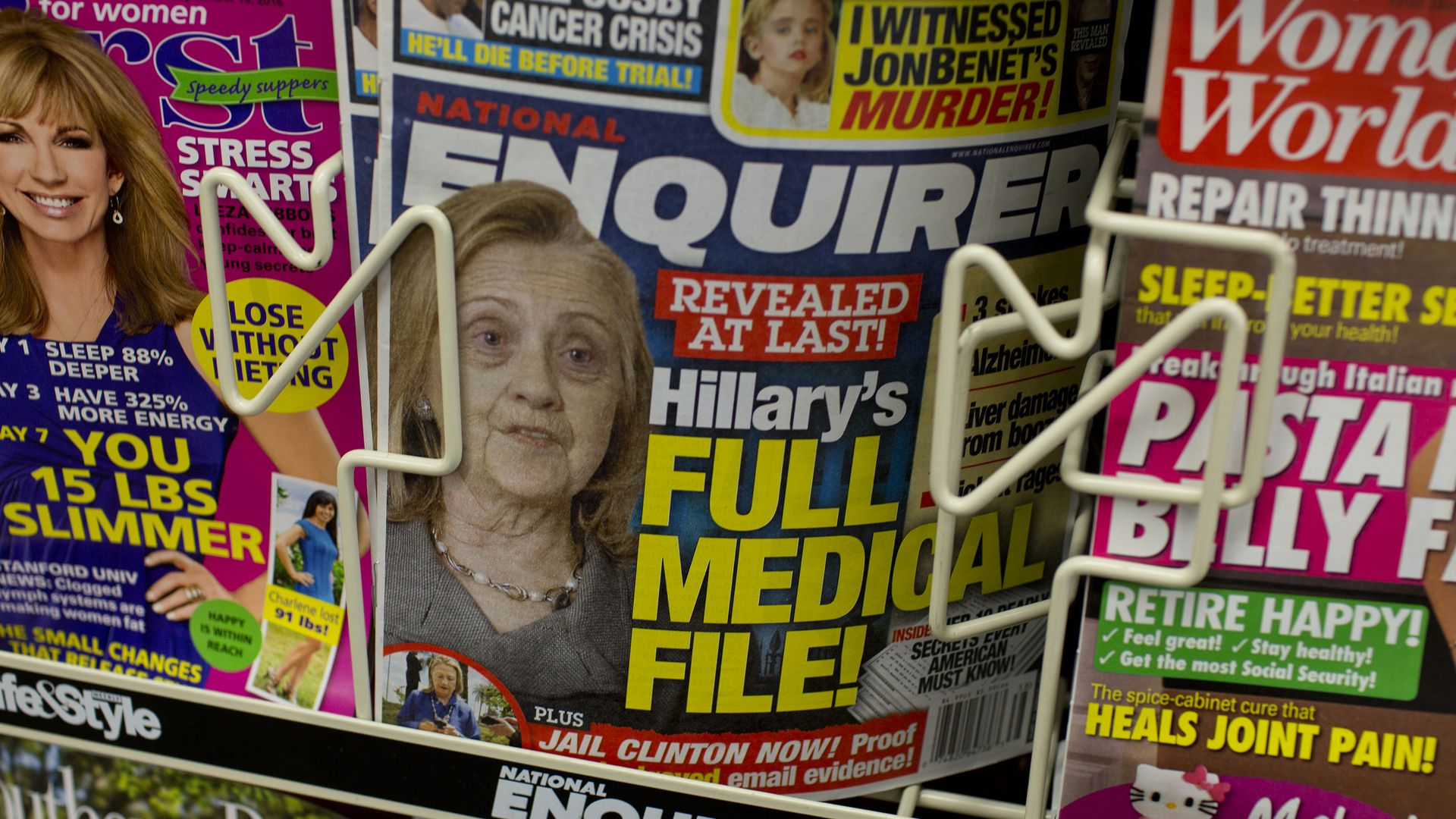 Cover of the National Enquirer reporting about Hillary Clinton's health