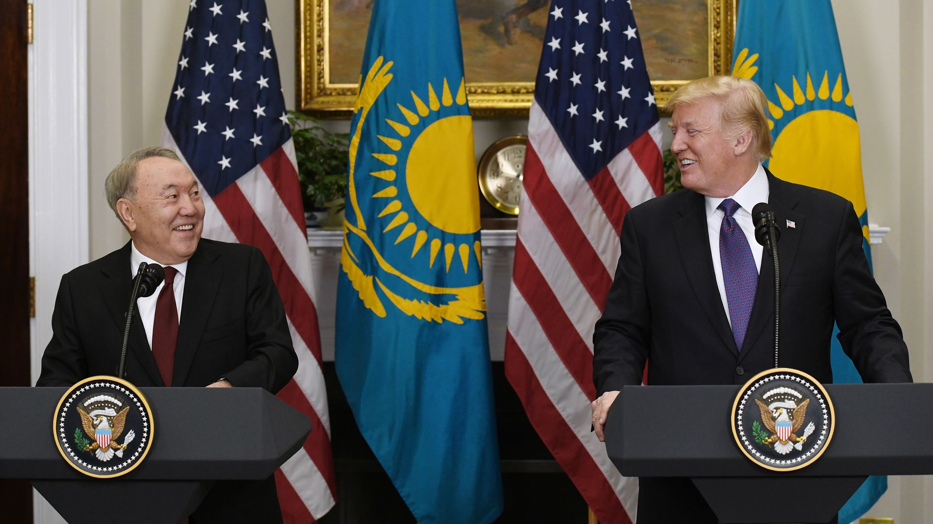 U.S. President Donald Trump and President Nursultan Nazarbayev of Kazakhstan hold a joint press conference.