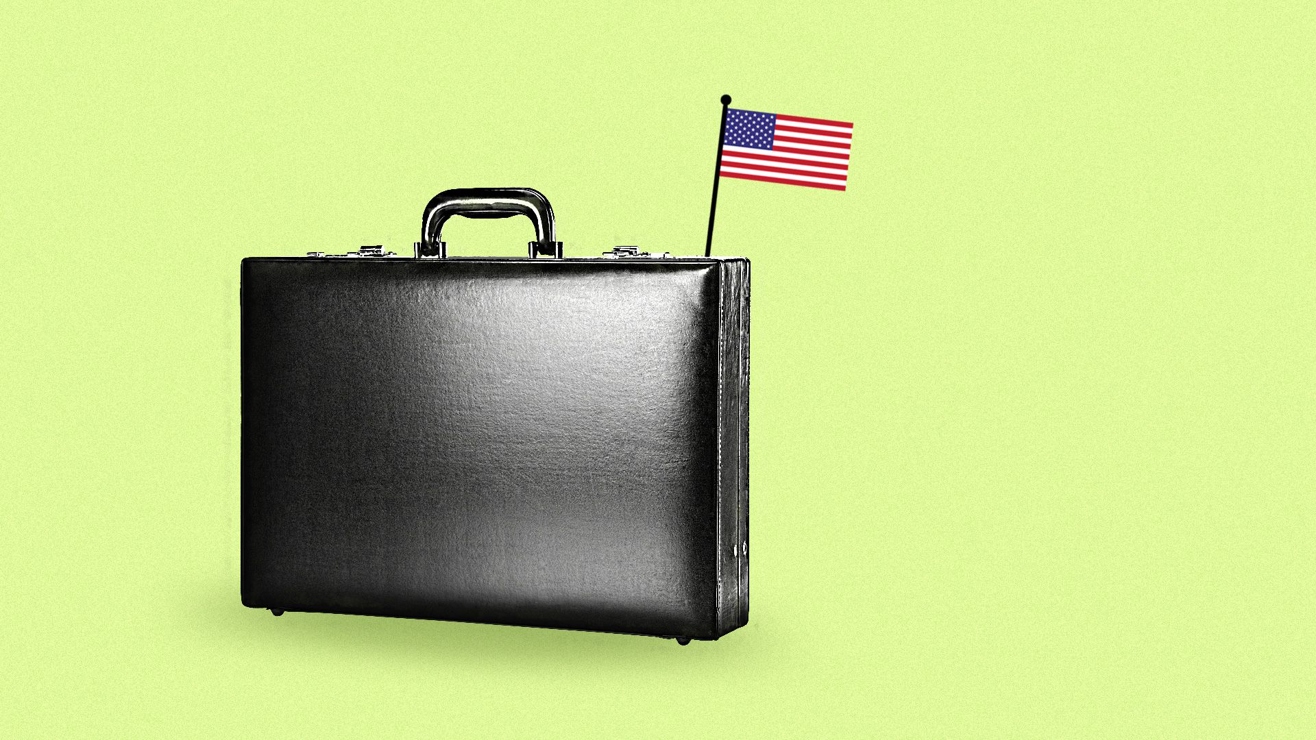 An American Flag planted on a briefcase