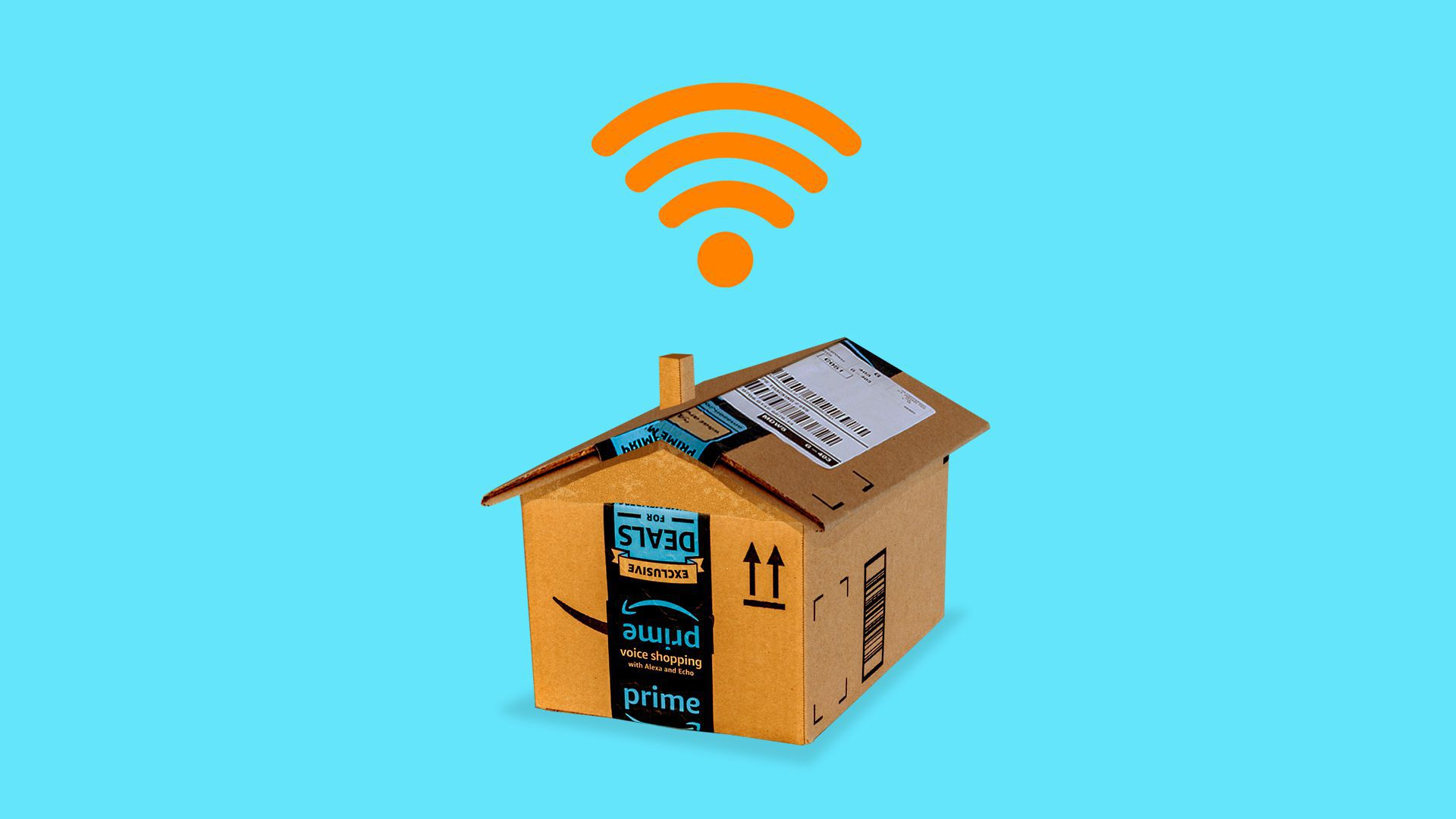In this picture, a deconstructed Amazon delivery box is shaped into a house, and wifi signals erupt from the top of the house.