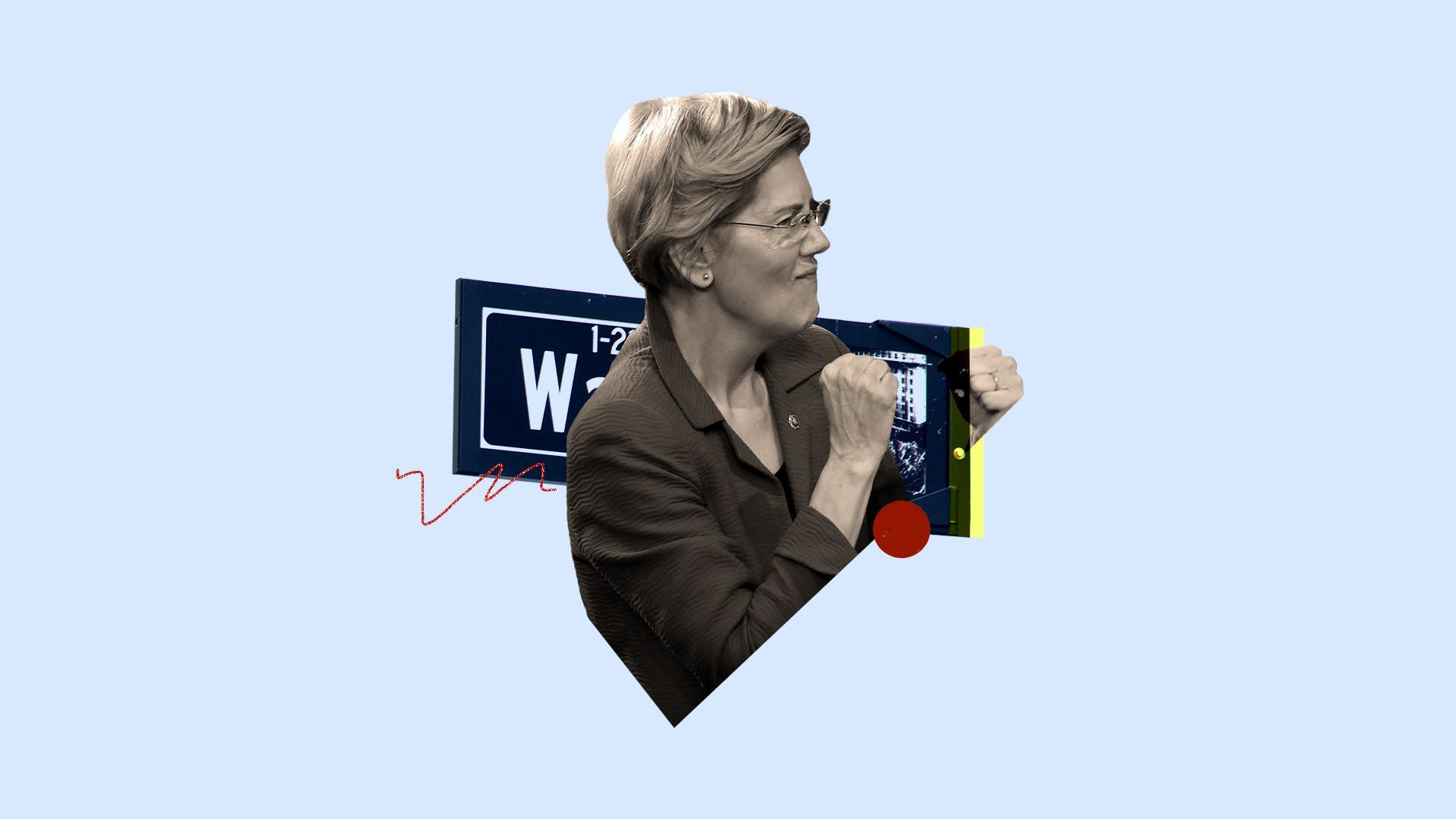 An illustration of Warren holding one of her signs.