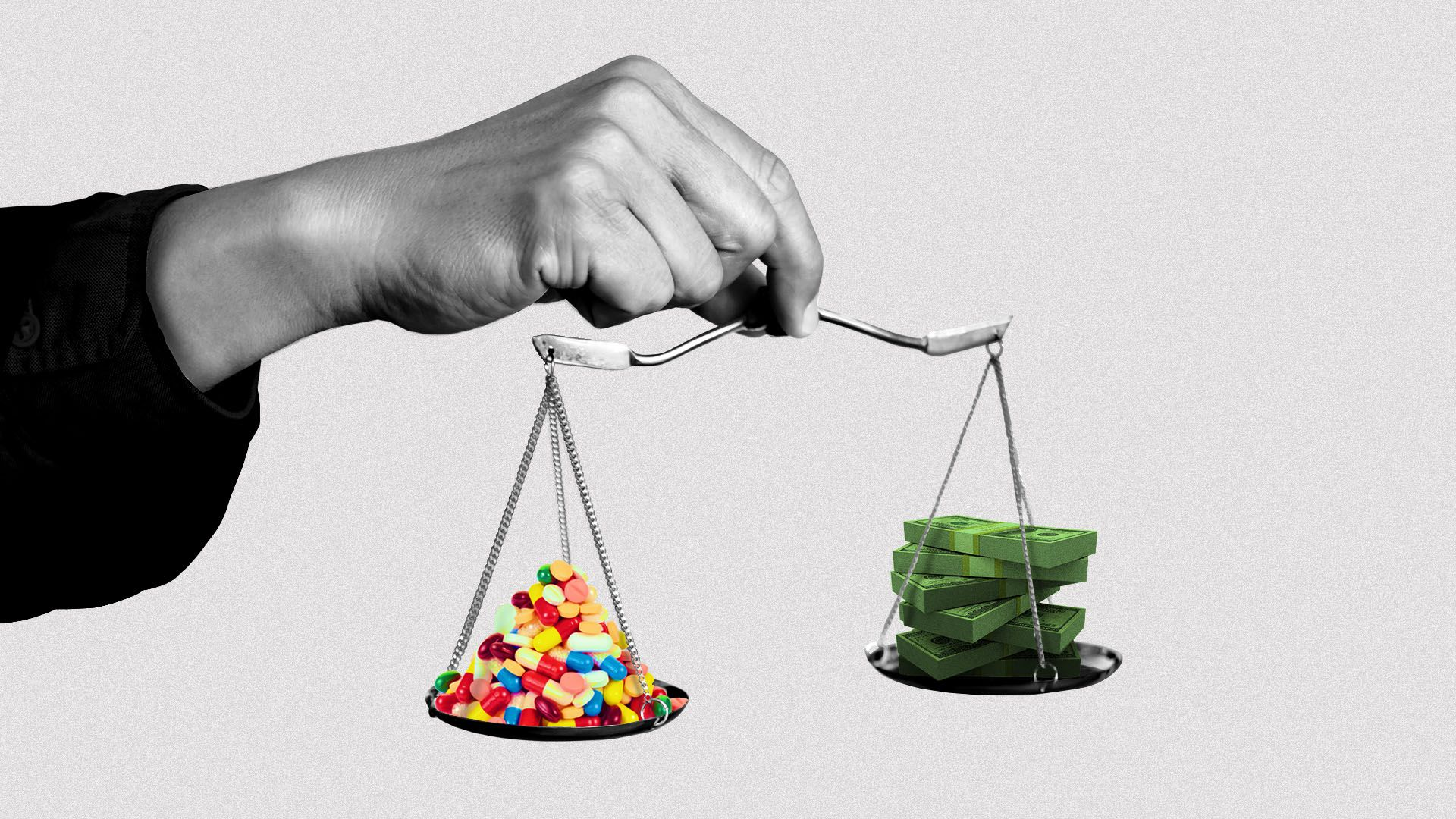 Illustration of a hand holding a small scale with pills on one side and money on the other