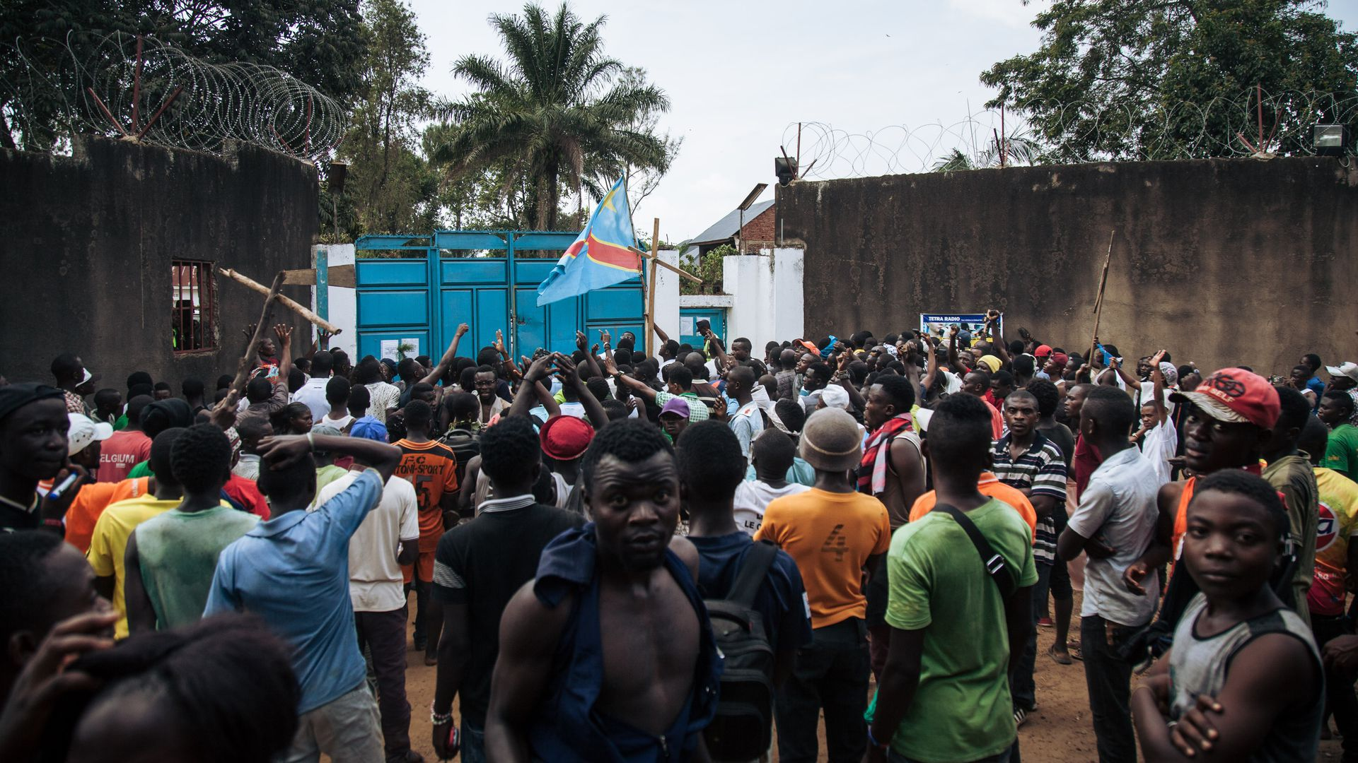 Protesters gather outside the Ebola center in Beni.