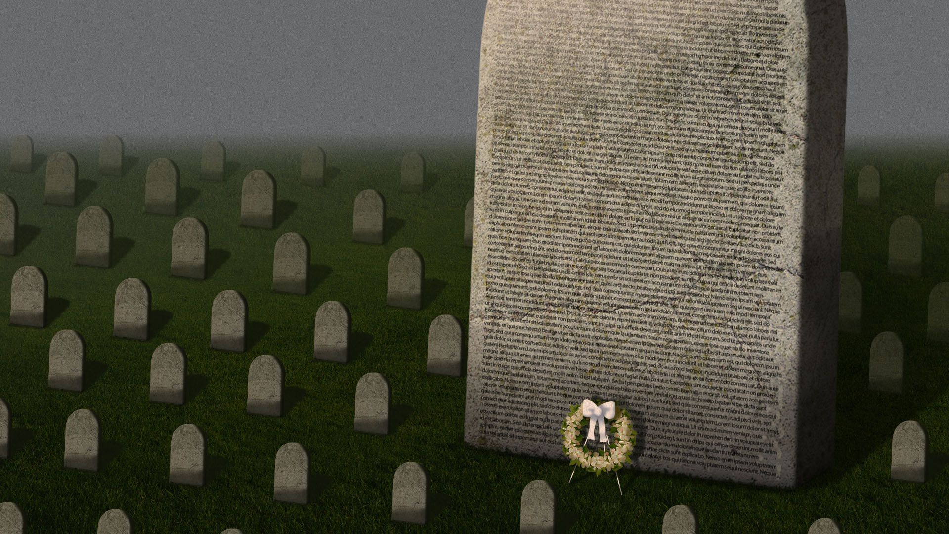 Illustration of a graveyard with one giant tombstone