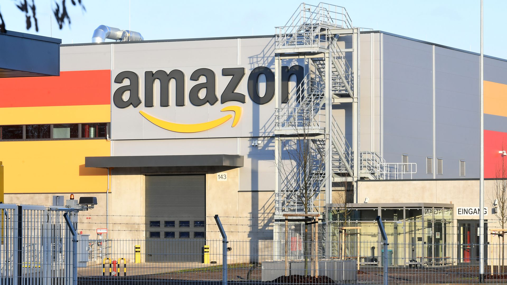 Amazon distribution center building exterior with logo