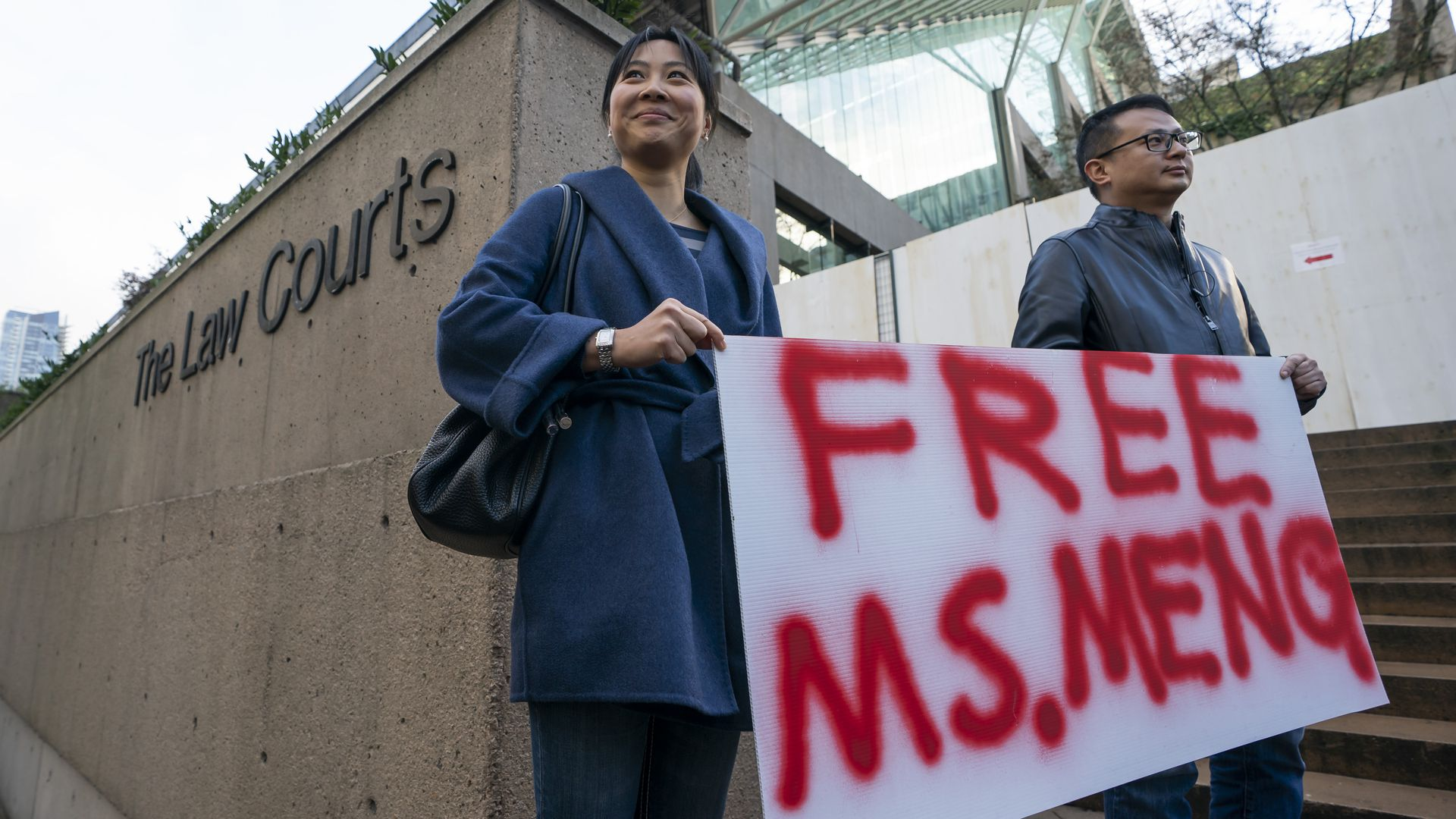 Supporters of Meng Wenzhou outside the Canadian courtroom