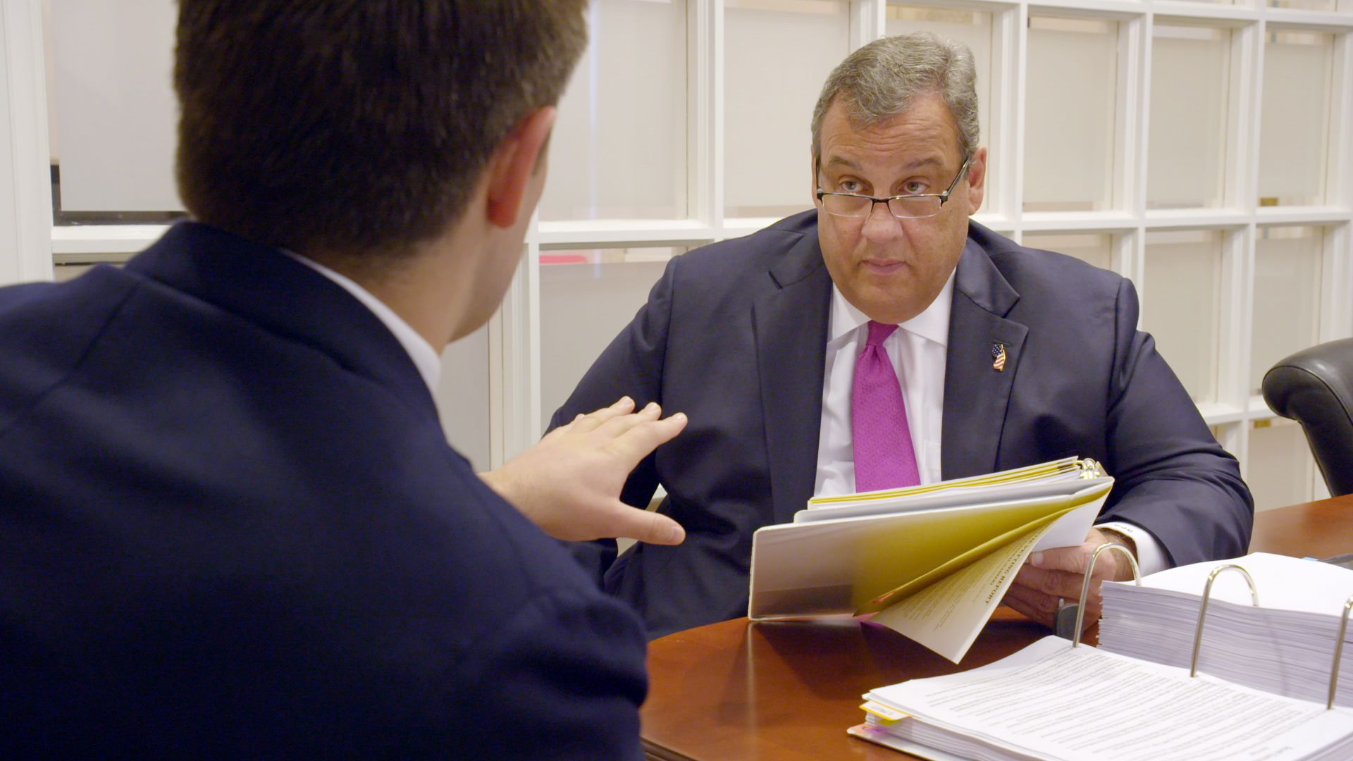 Chris Christie confronted with his own vetting dossier from the Trump transition