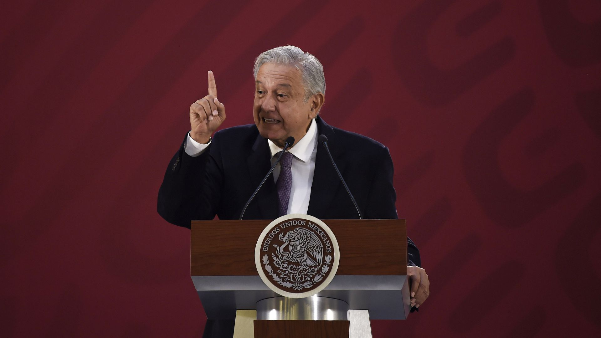 Mexico's President Andres Manuel Lopez Obrador delivers a press conference