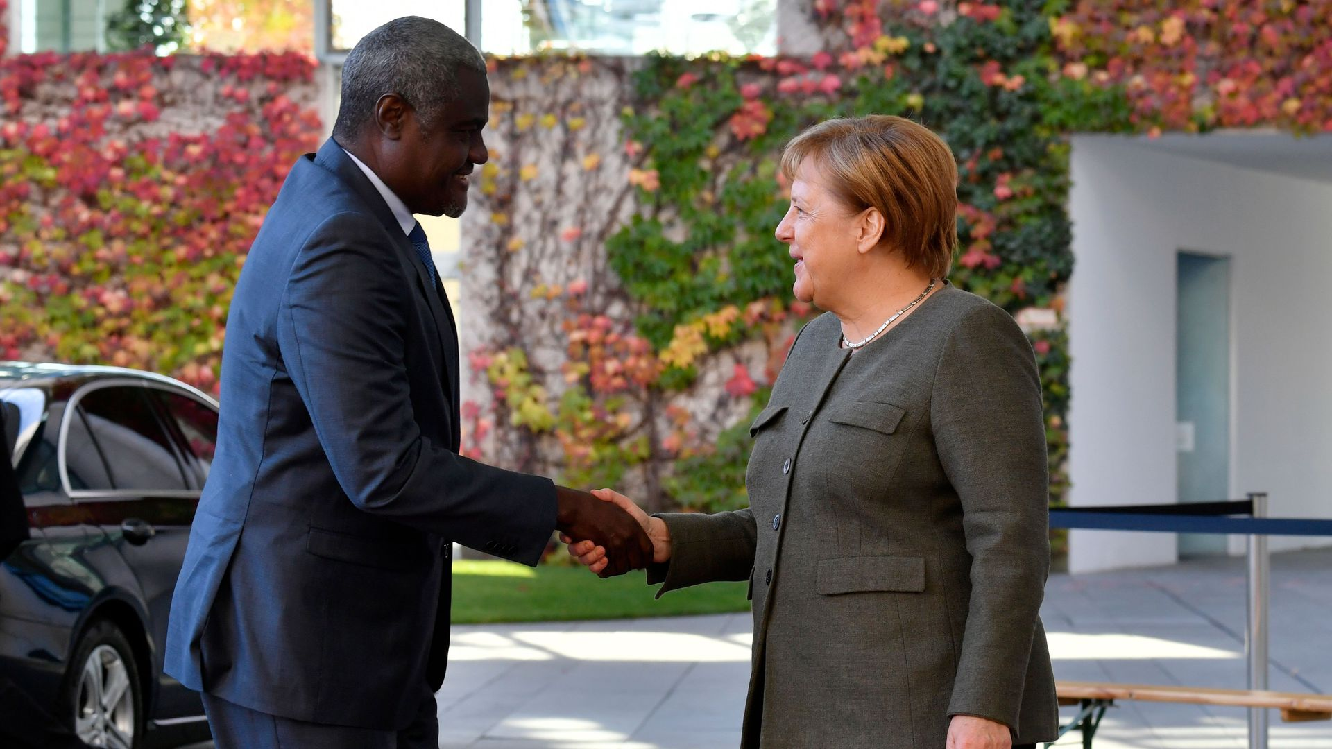 German Chancellor Angela Merkel welcomes African Union (AU) Commission Chairman, Moussa Faki