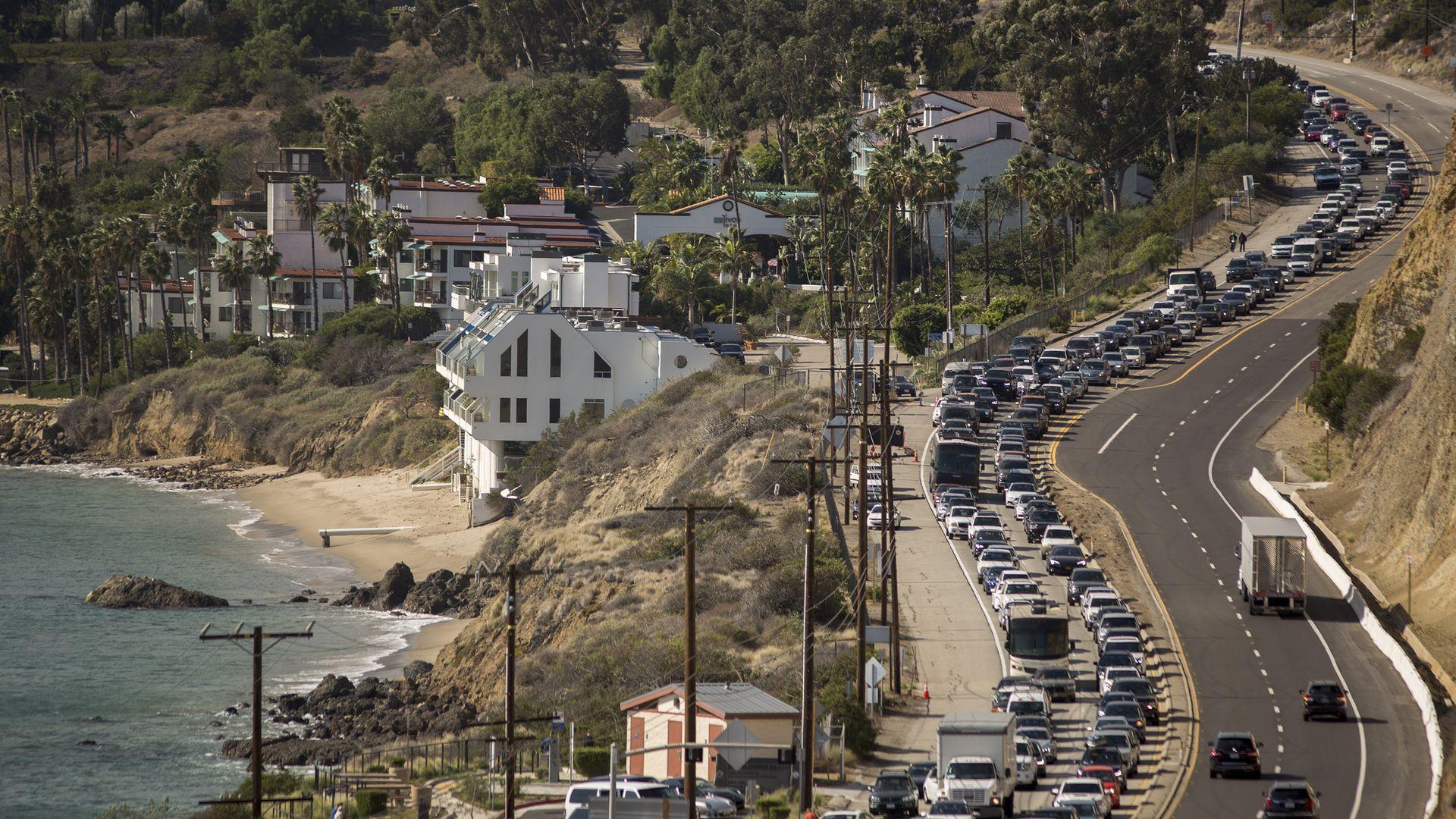 Traffic jams in California