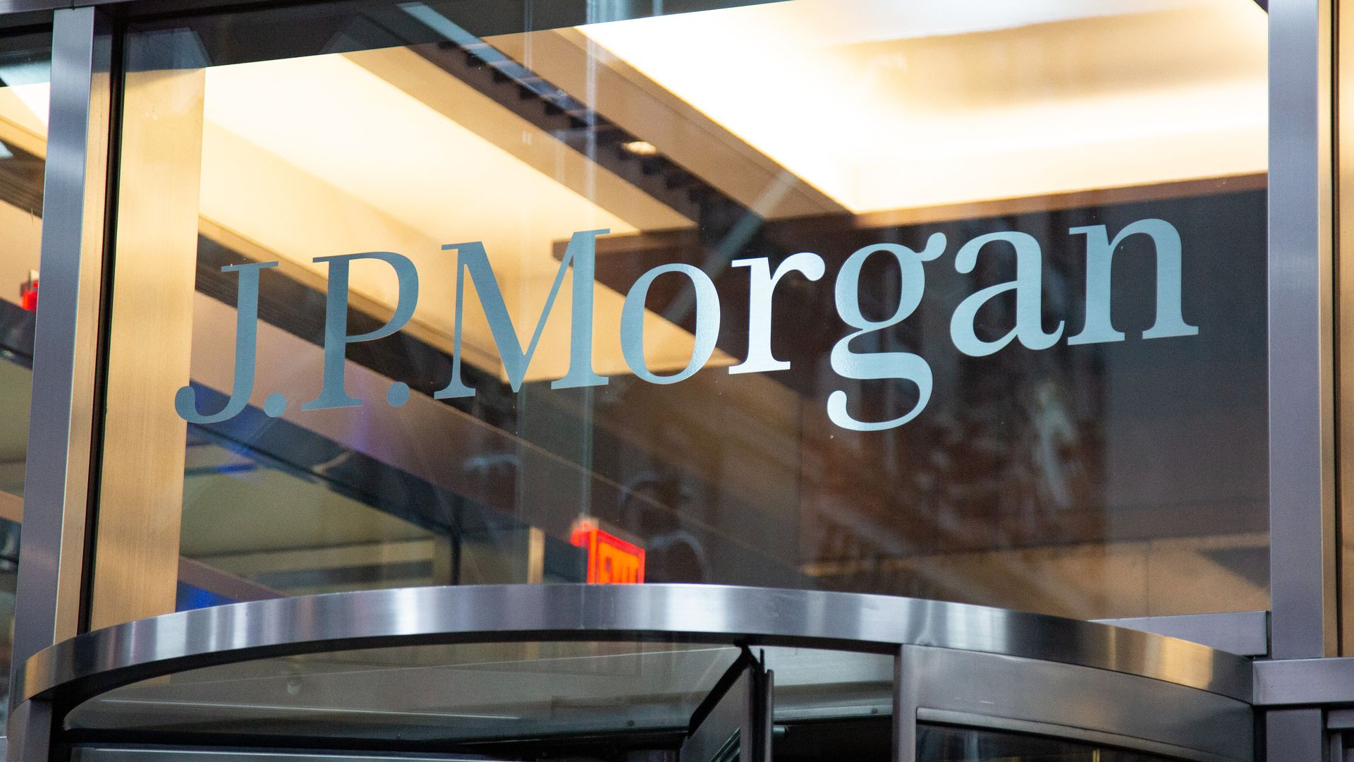 JP Morgan logo on top of a doorway