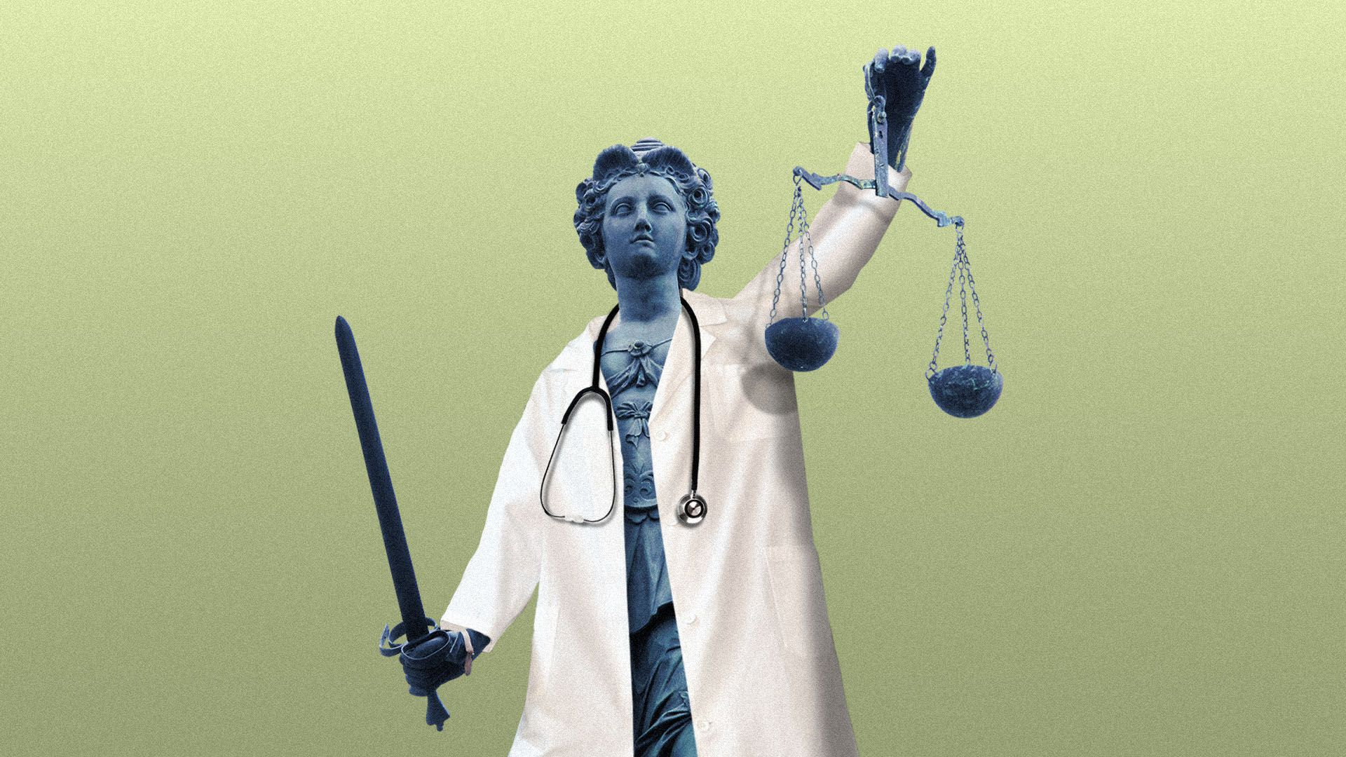 Illustration of a statue of Justice wearing a doctor's coat and a stethoscope