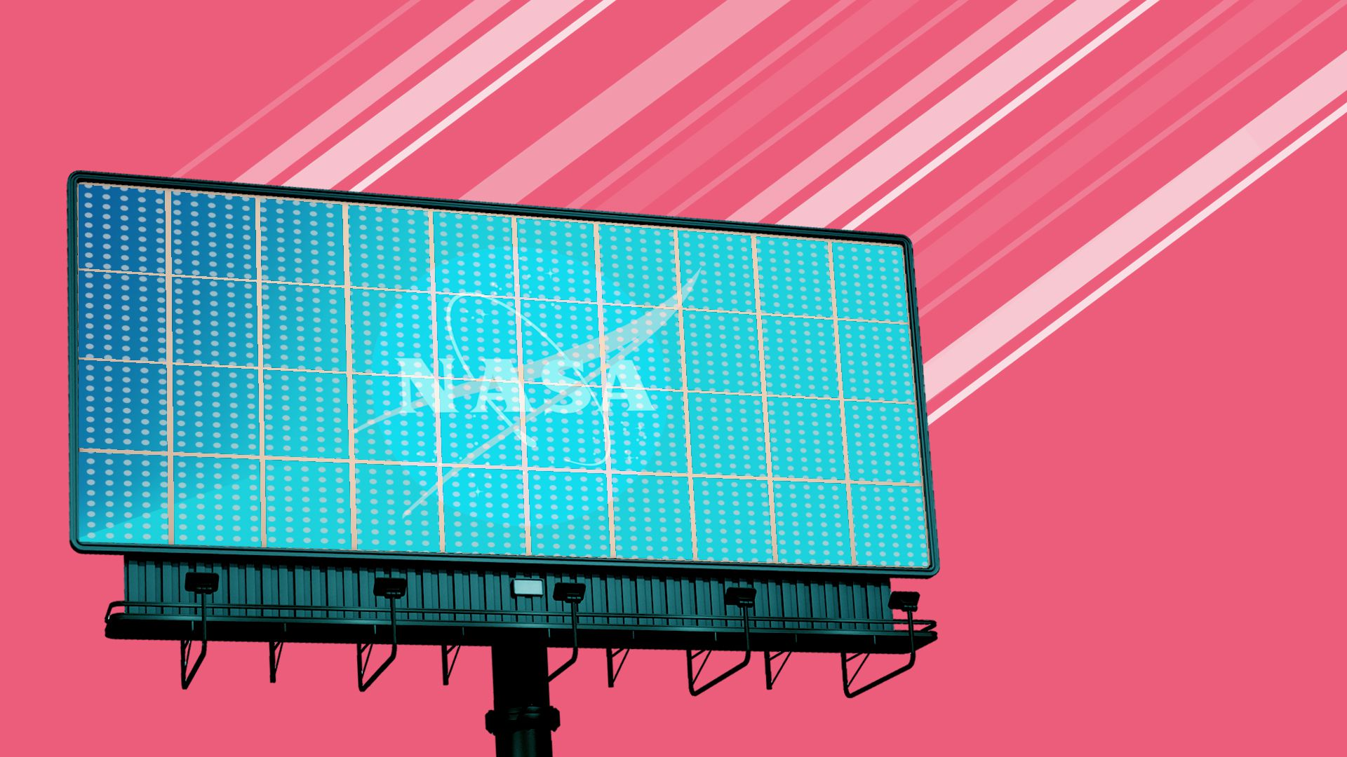 Illustration of a billboard advertisement for NASA