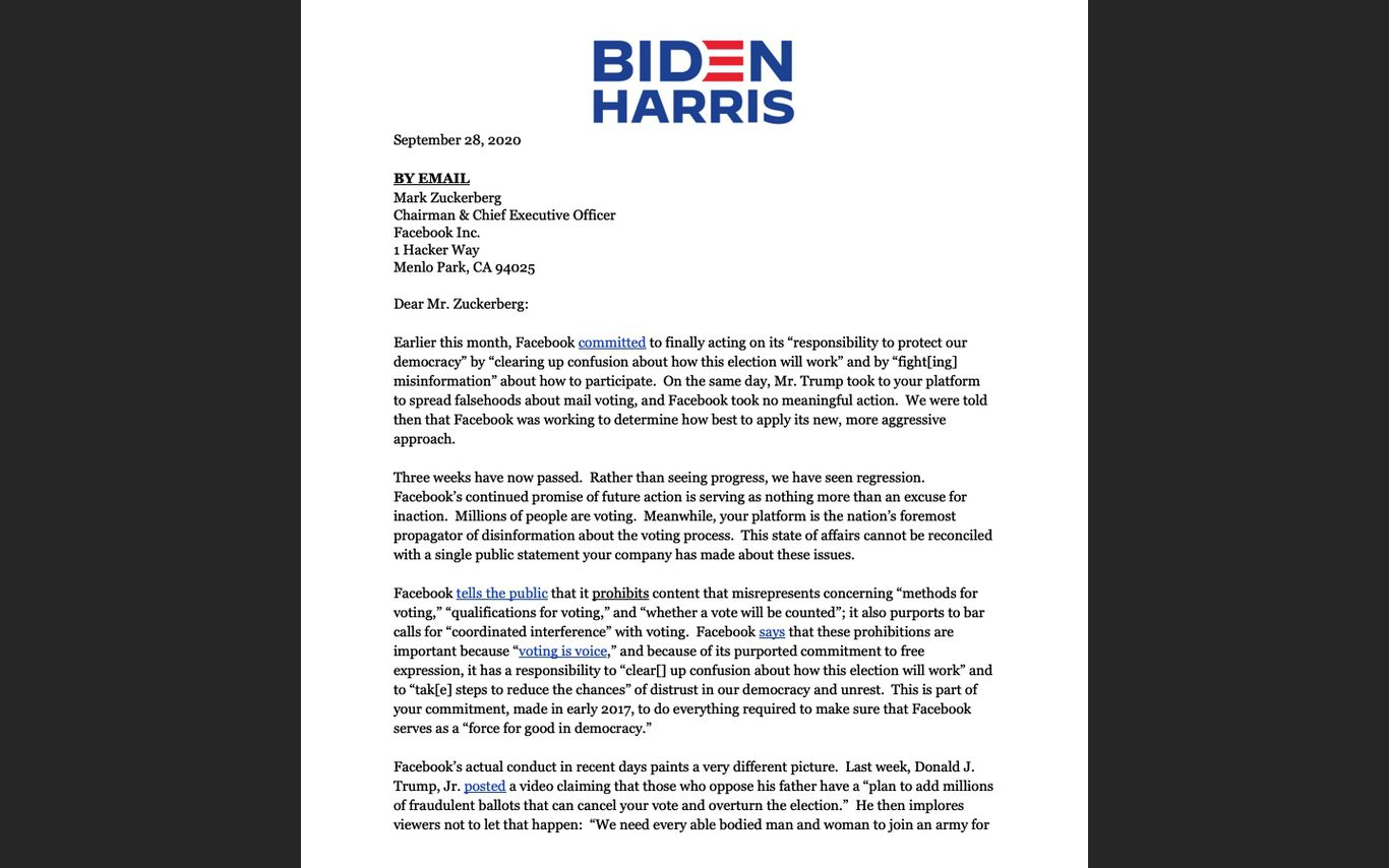 Biden letter to Facebook CEO Mark Zuckerberg