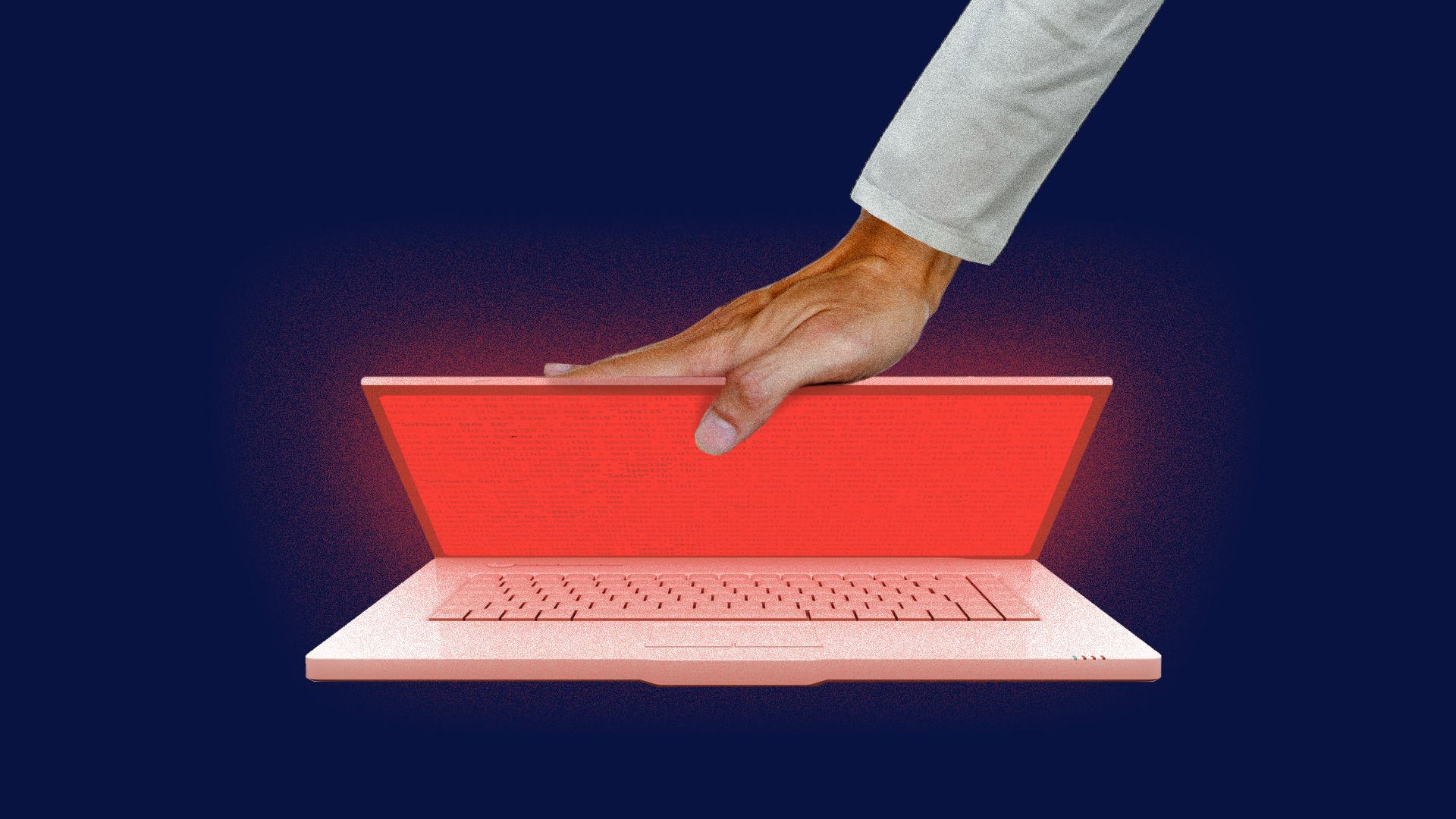 A man shuts a laptop displaying a red screen.