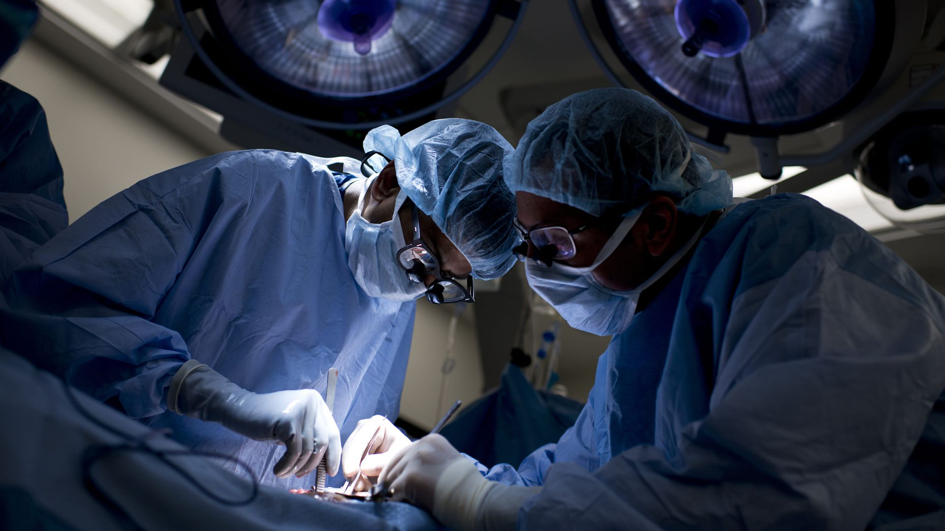 Johns Hopkins surgeons operate on a patient.