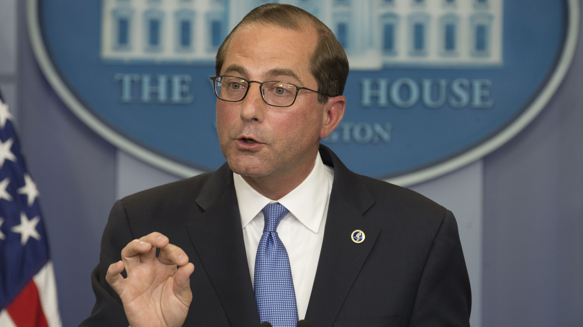 HHS Secretary Alex Azar briefs reporters at the White House.