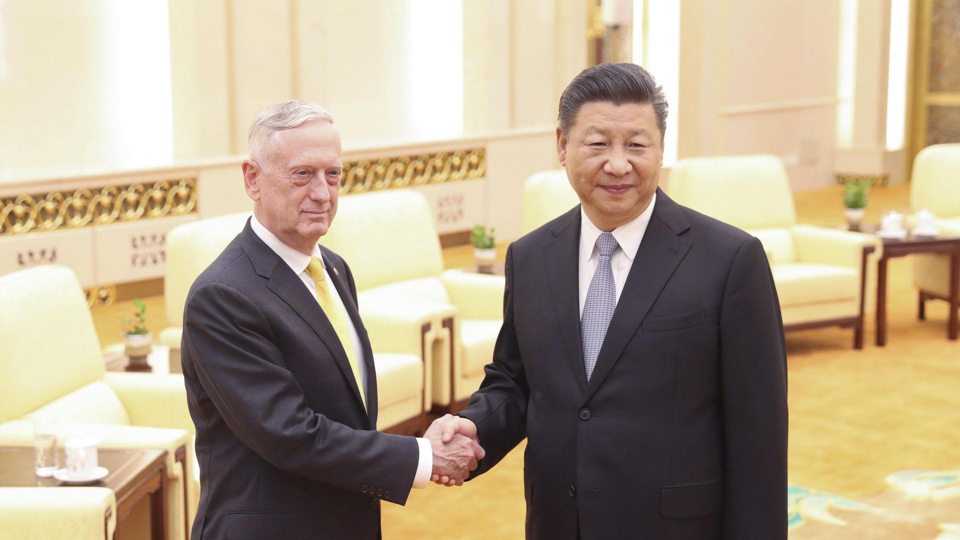 Mattis and Xi shake hands