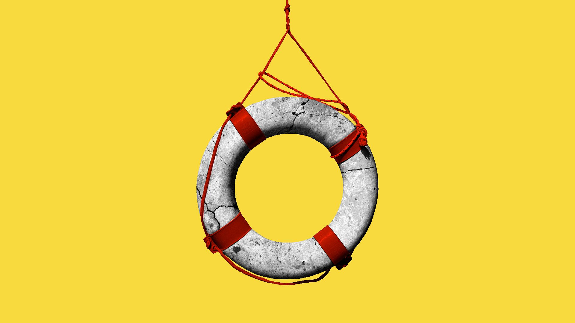 Illustration of a life preserver made from stone.