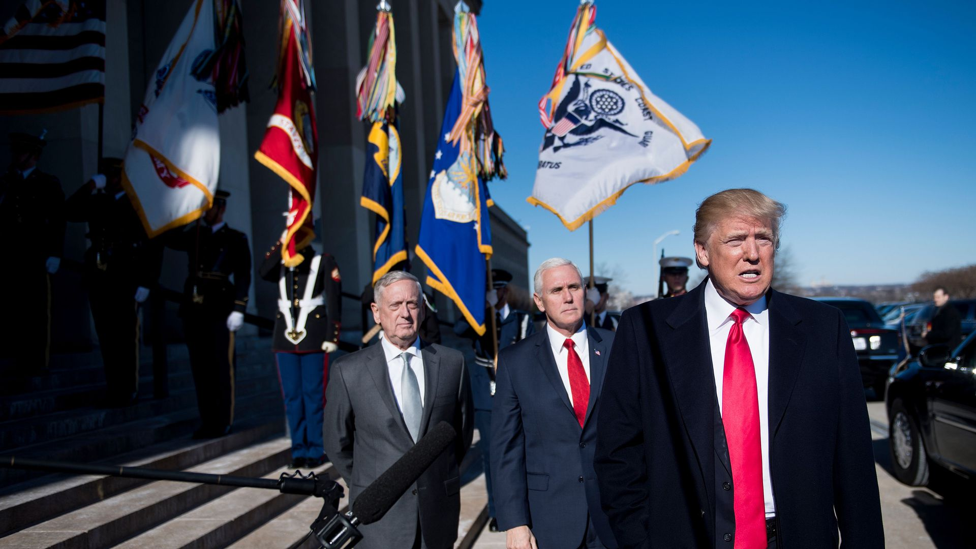 Trump, Pence and Mattis outside the Pentagon