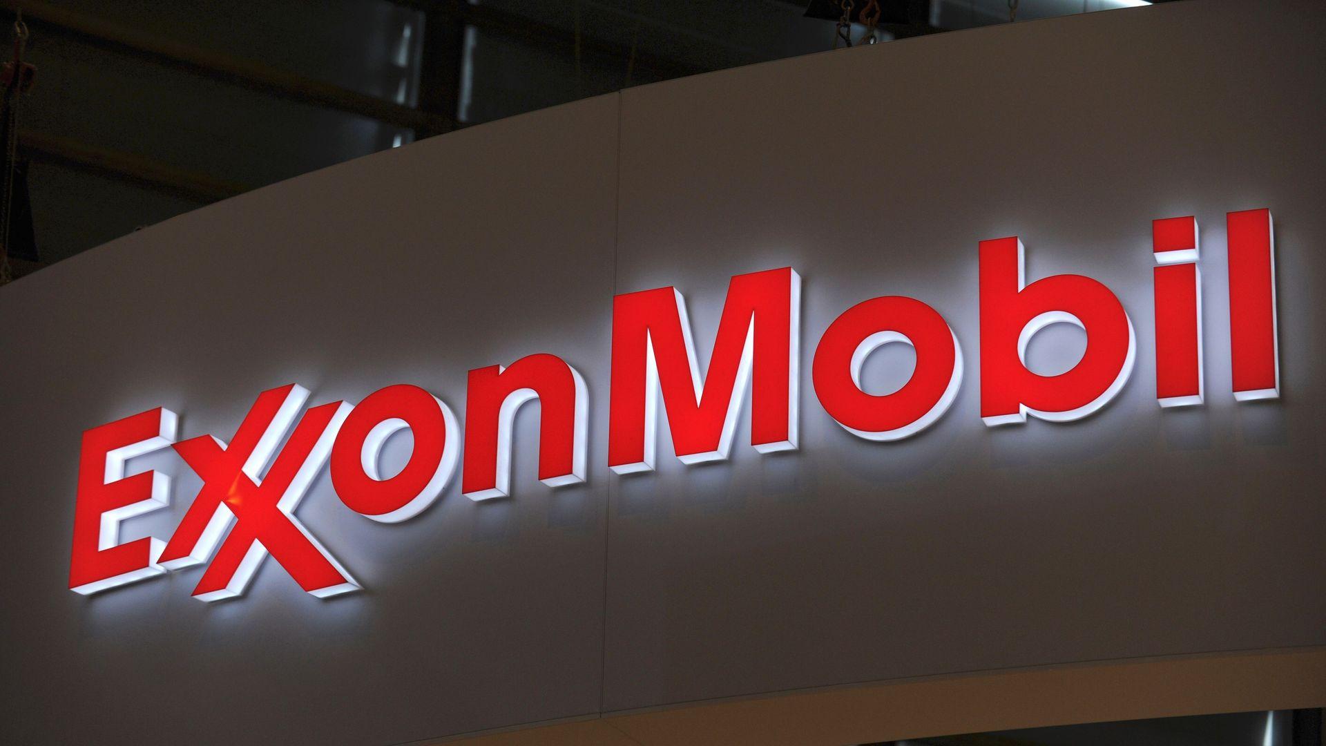 ExxonMobil sign lit up at night