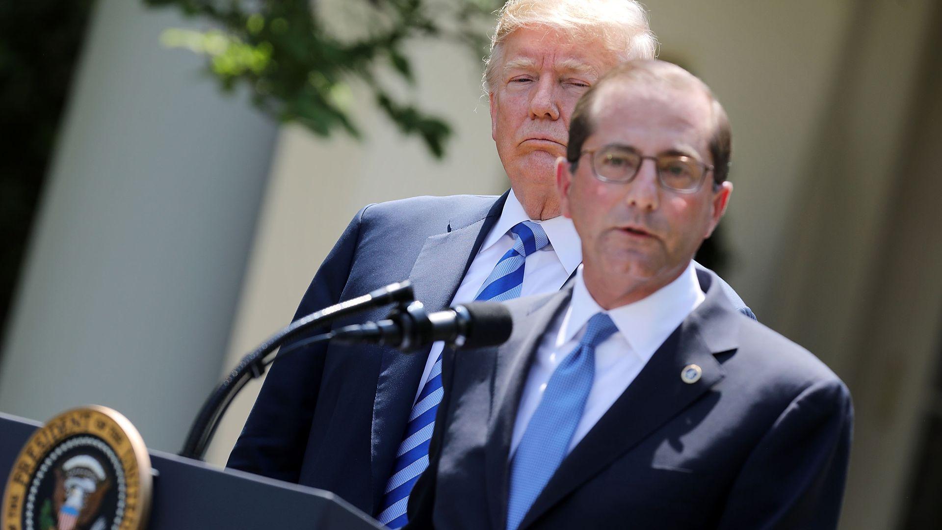 President Donald Trump and HHS Sec. Alex Azar