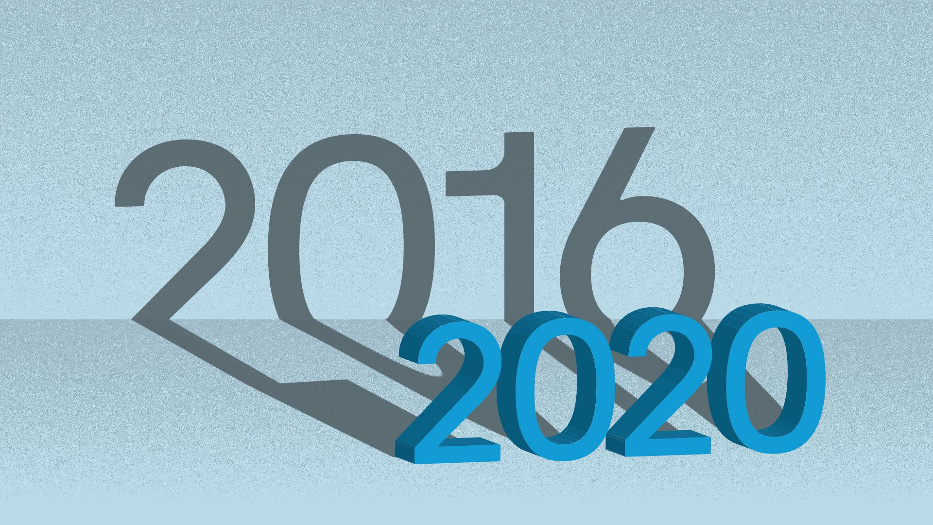 Illustration of 2020 in large letters casting a shadow that reads 2016.