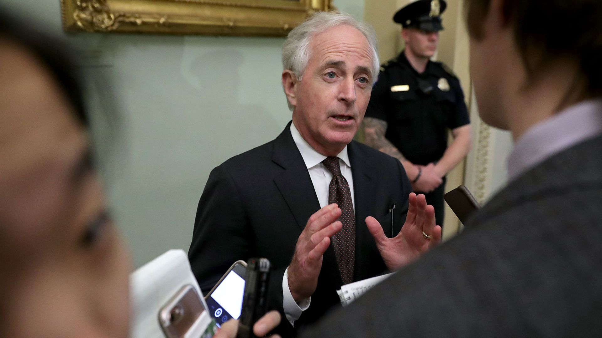 Sen. Bob Corker speaks with reporters
