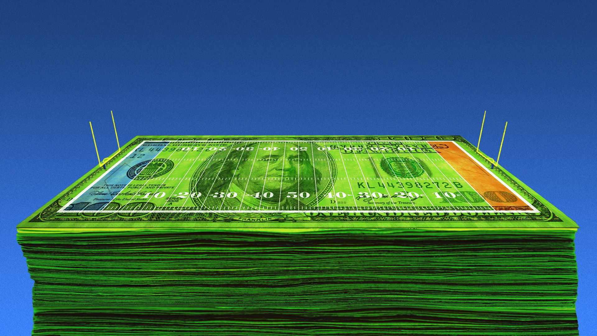 Illustration of a stack of hundred dollar bills underneath a football field.