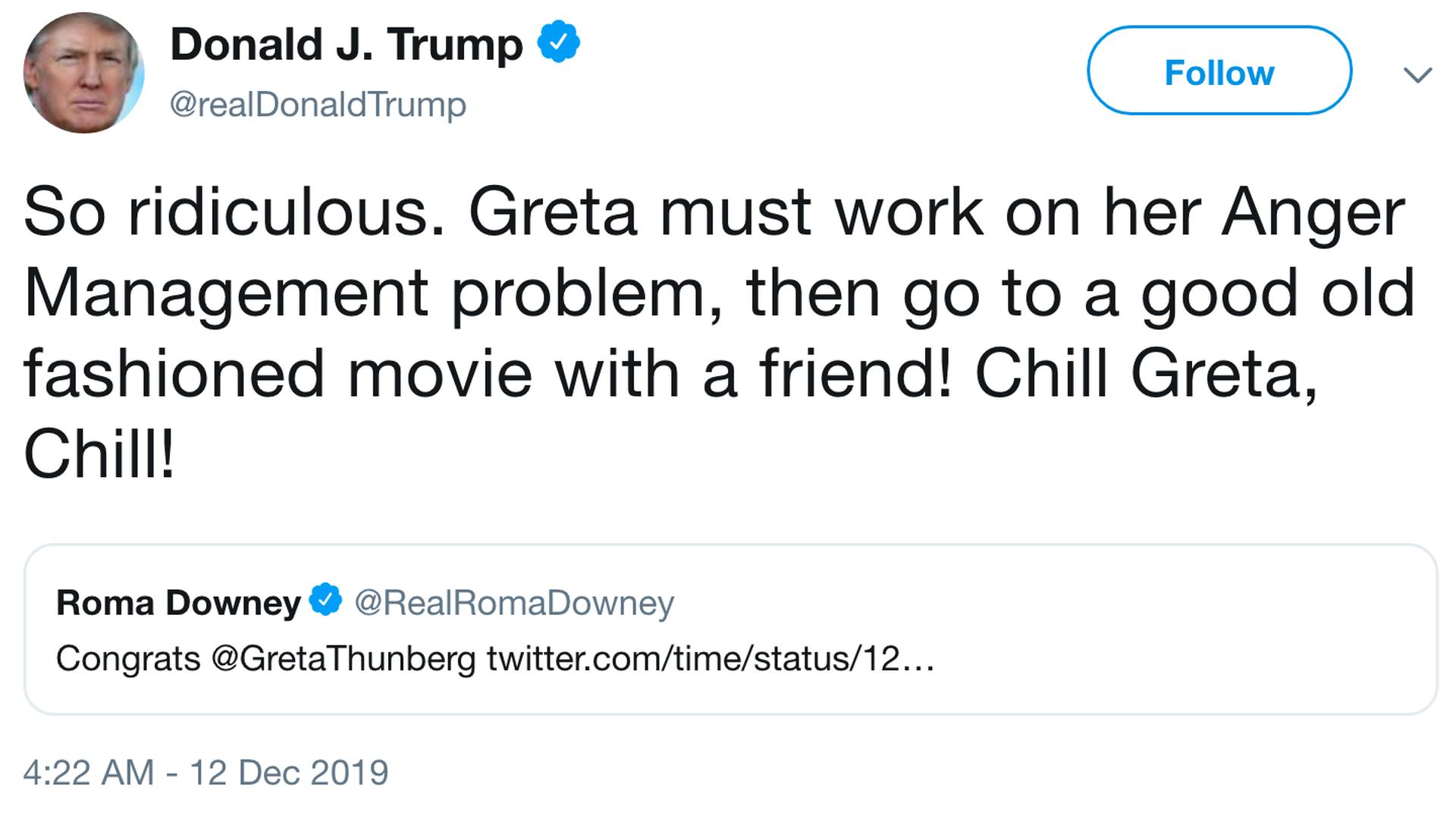 donald trump greta chill twitter