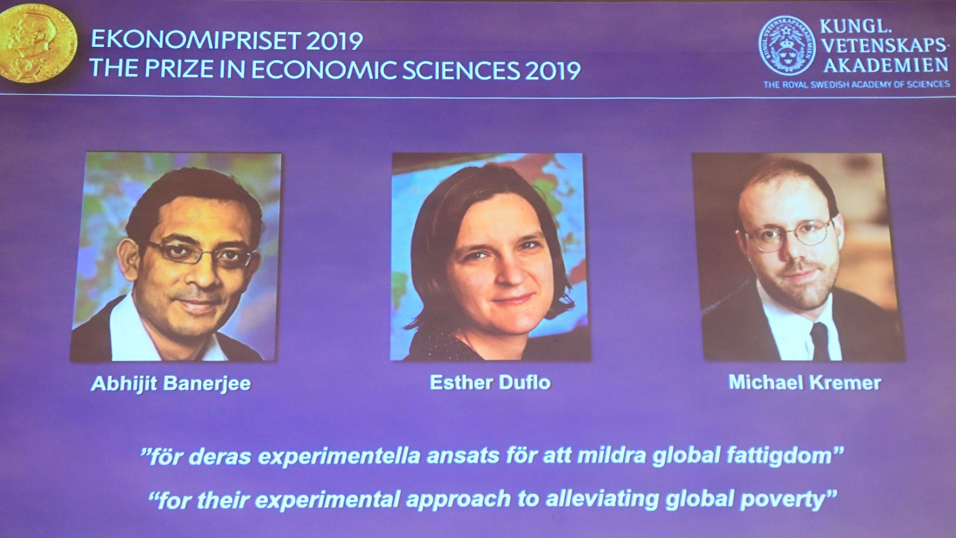 The winners of the 2019 Nobel prize in economic science.