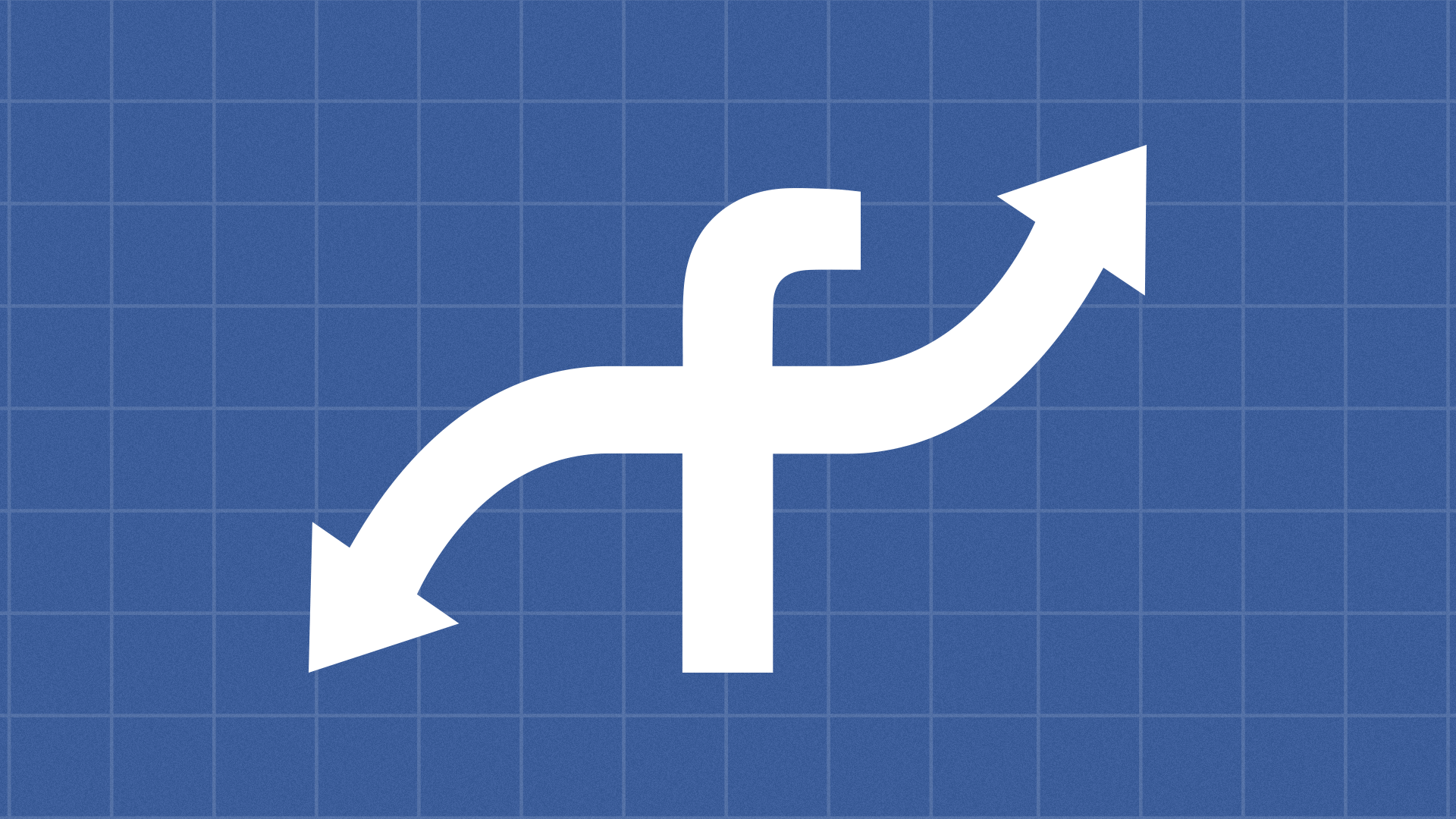 "Illustration of the Facebook logo with the crossbar of the ""f"" mimicing an inflection curve."