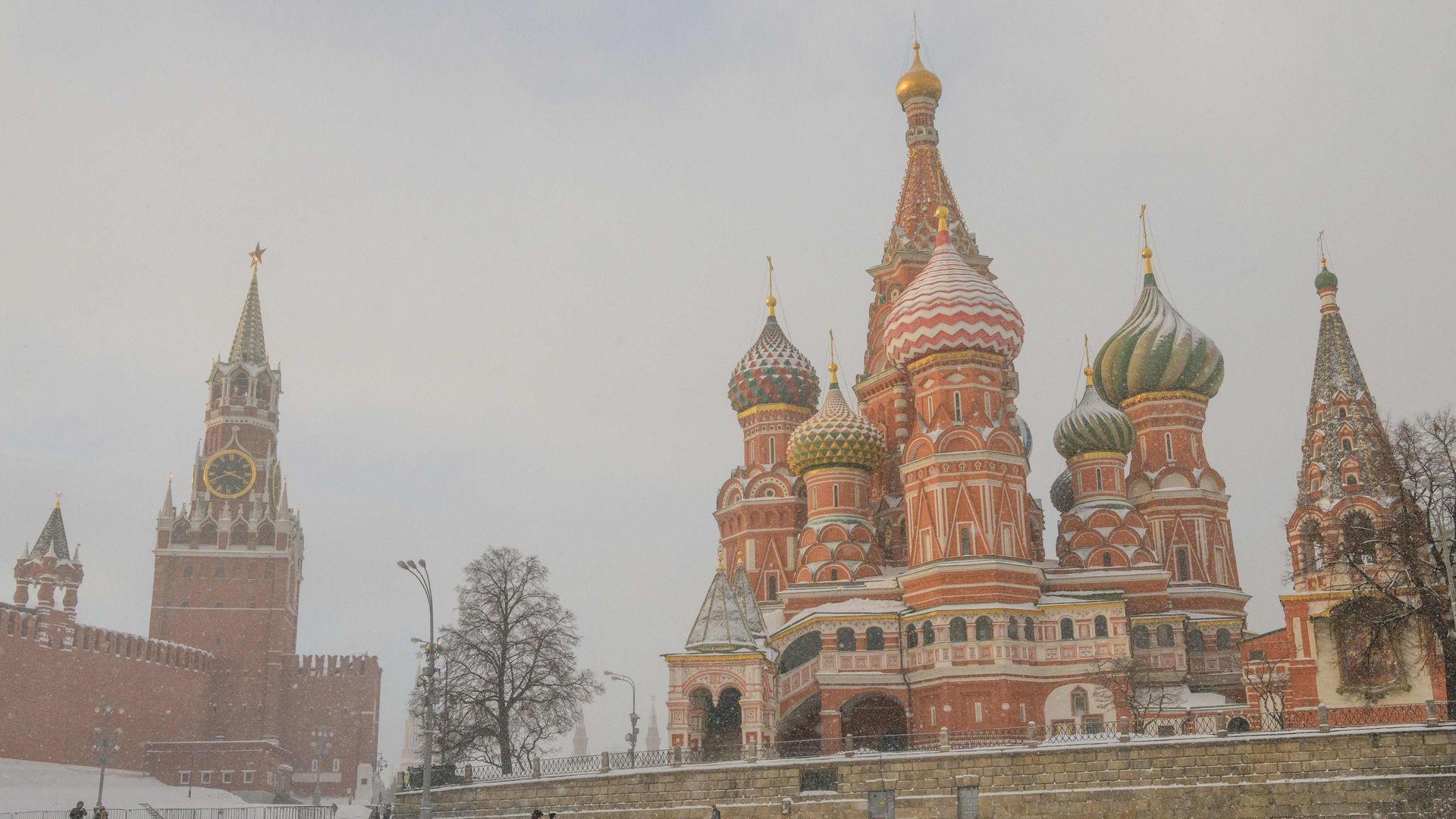 St. Basil's Cathedral and the Kremlin in the snow.