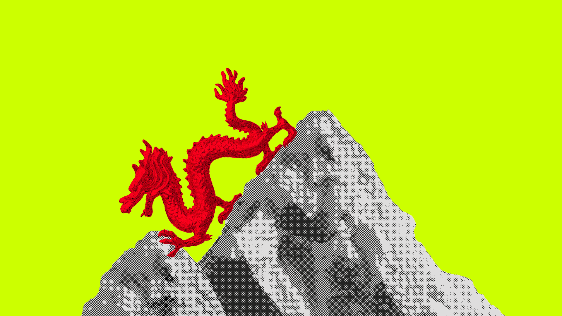 Chinese dragon walking over India