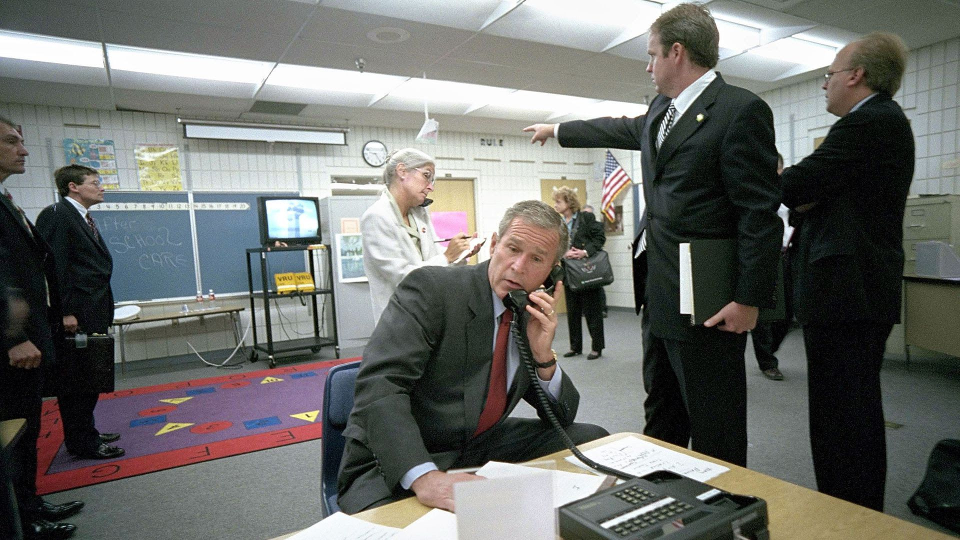 Former President George W. Bush makes a call from Emma Booker Elementary School in Sarasota on September 11, 2001.