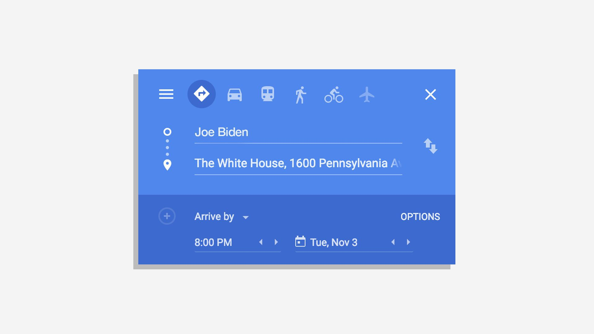 Google maps directions that says from Joe Biden to 1600 pennsylvania avenue