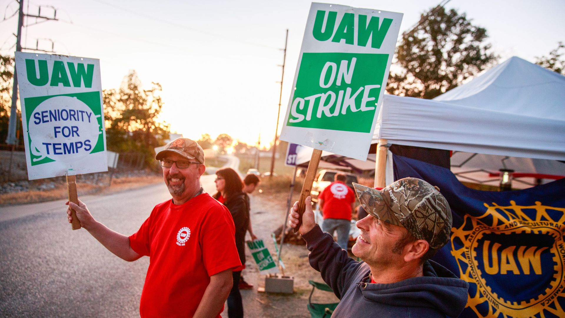 UAW members striking.