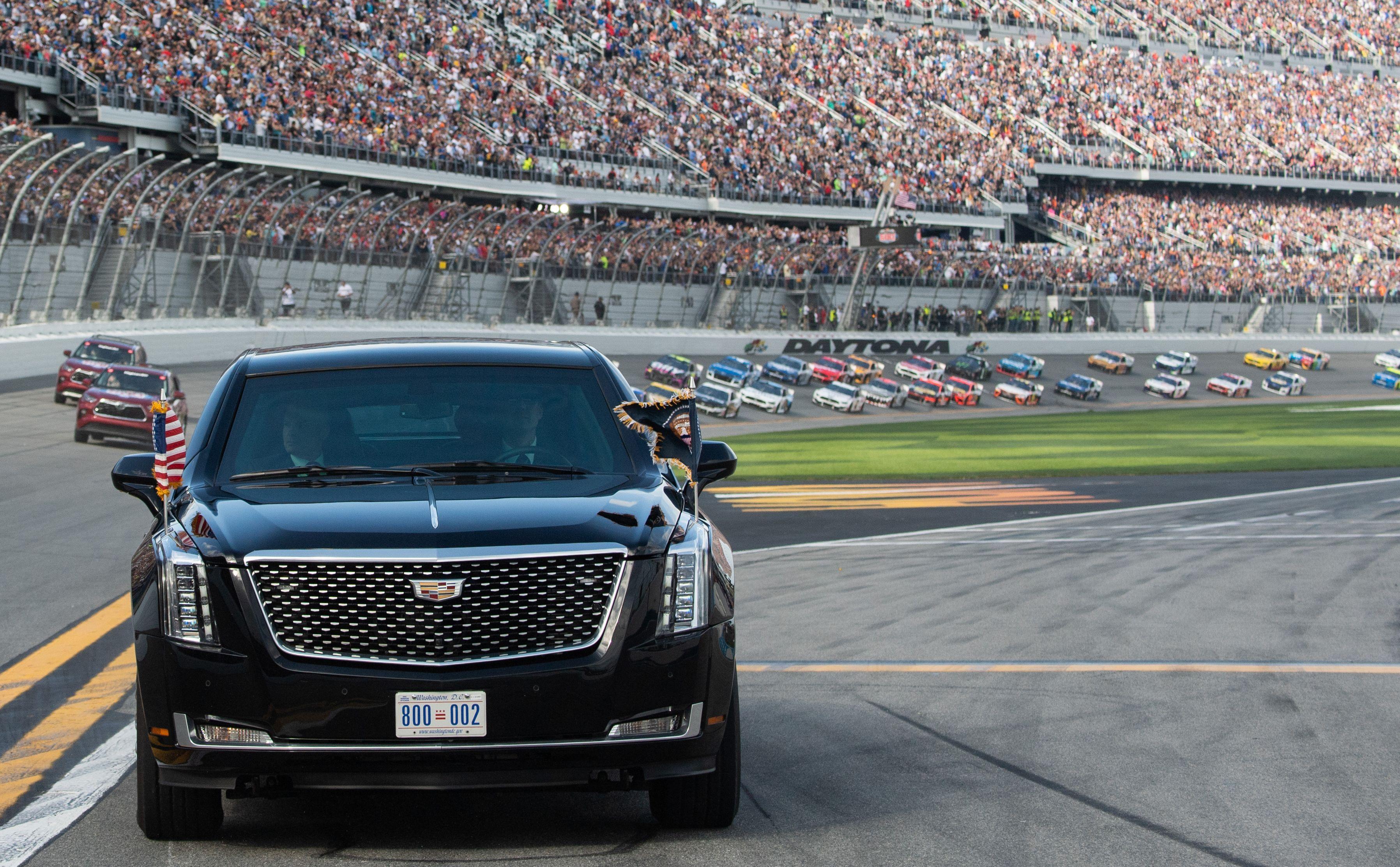 Trump takes presidential limousine for lap at Daytona 500 - Axios