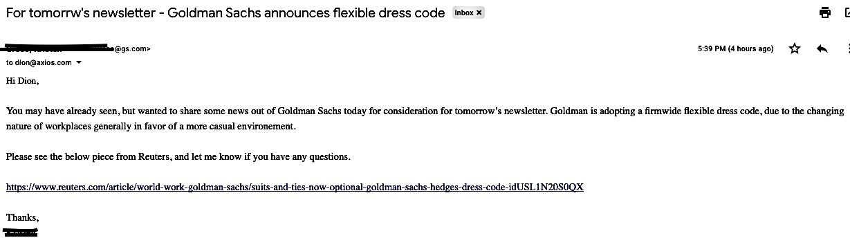 A pitch from a Goldman Sachs press person about their new dress code.