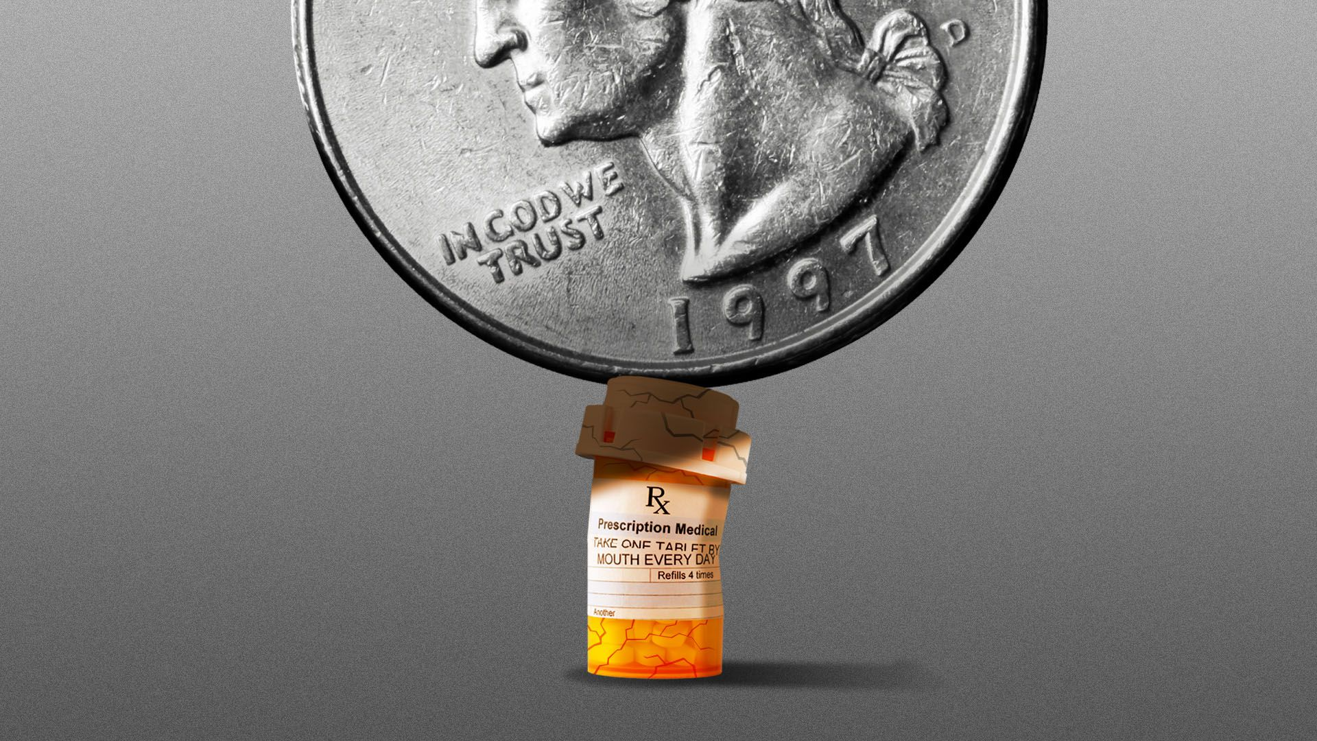 Illustration of a pill bottle being crushed by a giant quarter.
