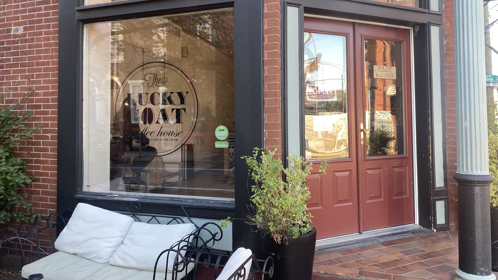 The storefront at The Lucky Goat Coffeehouse. Photo: Taylor Allen/Axios