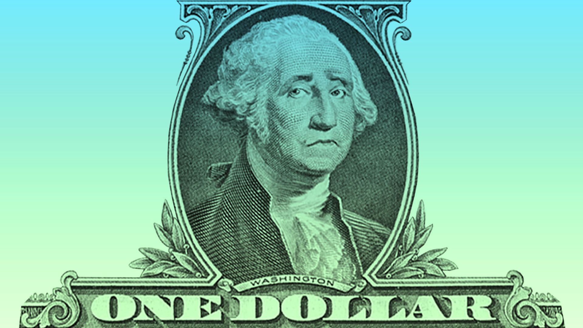 Illustration of George Washington on the $1 bill frowning